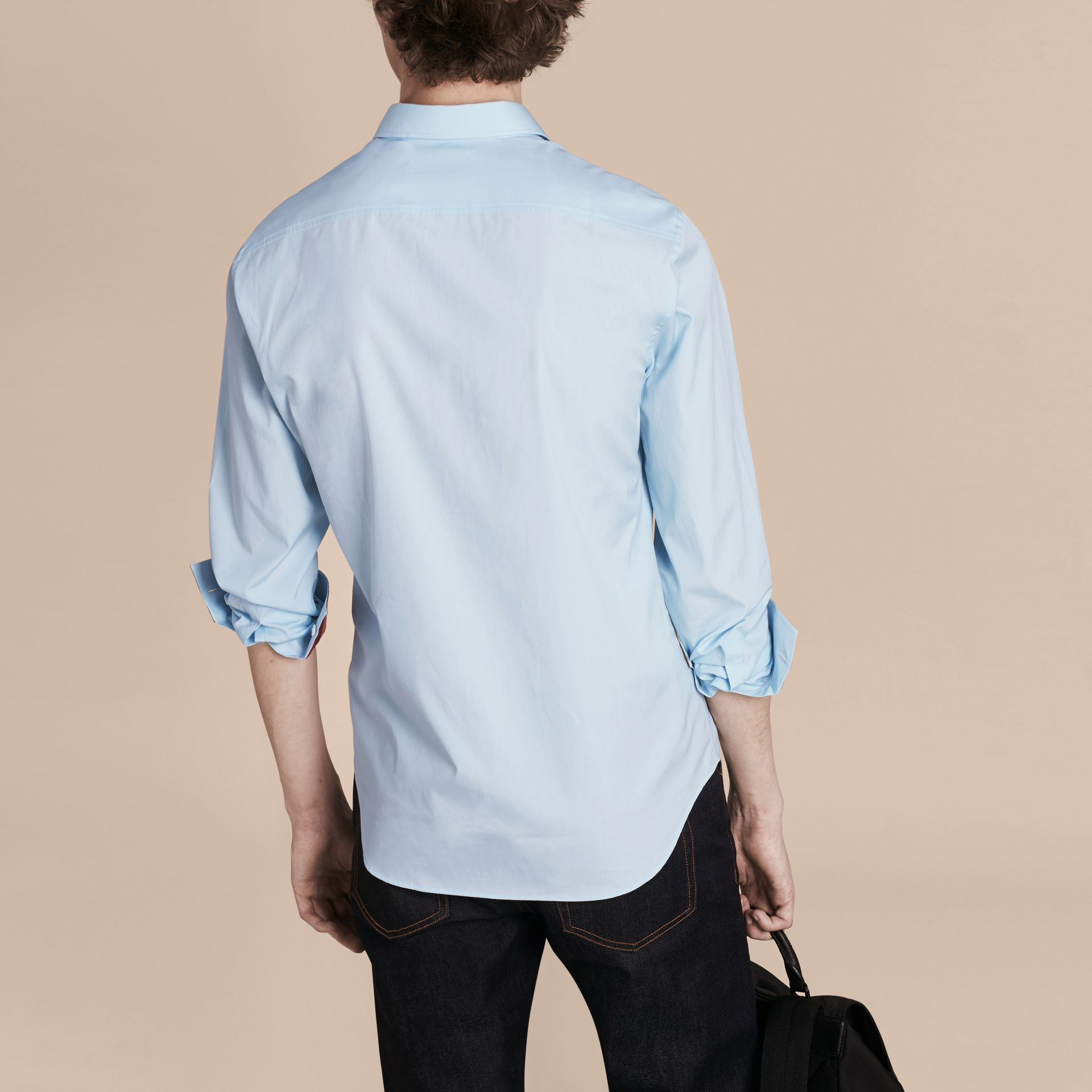 Check Detail Stretch Cotton Shirt in Pale Blue - Men | Burberry - gallery image 3
