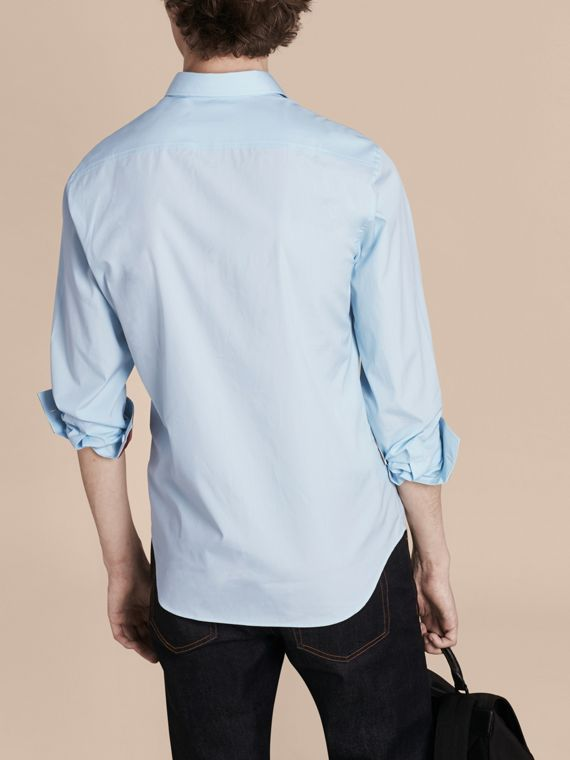 Check Detail Stretch Cotton Shirt in Pale Blue - Men | Burberry - cell image 2