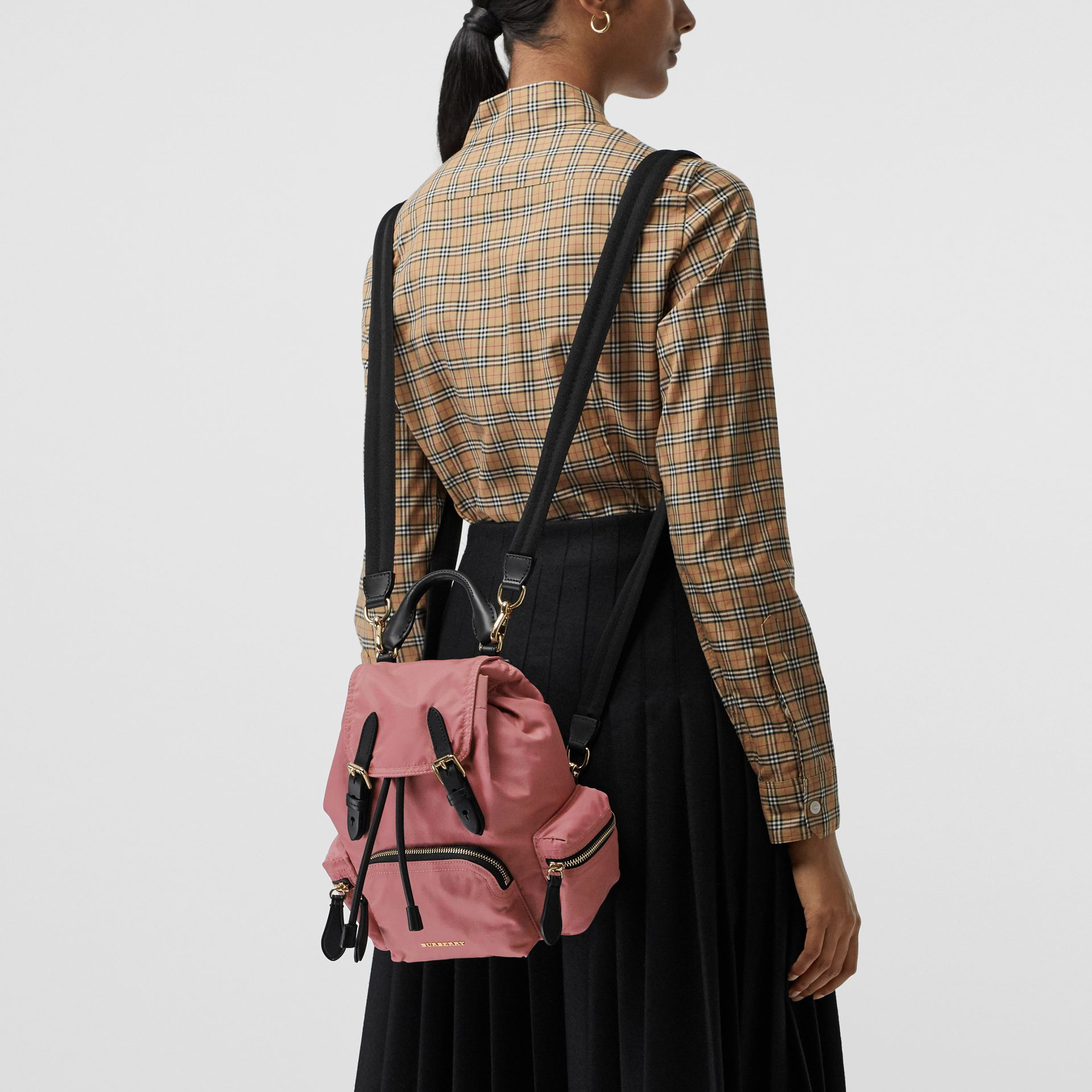 The Small Crossbody Rucksack in Nylon in Mauve Pink - Women | Burberry Canada - gallery image 6