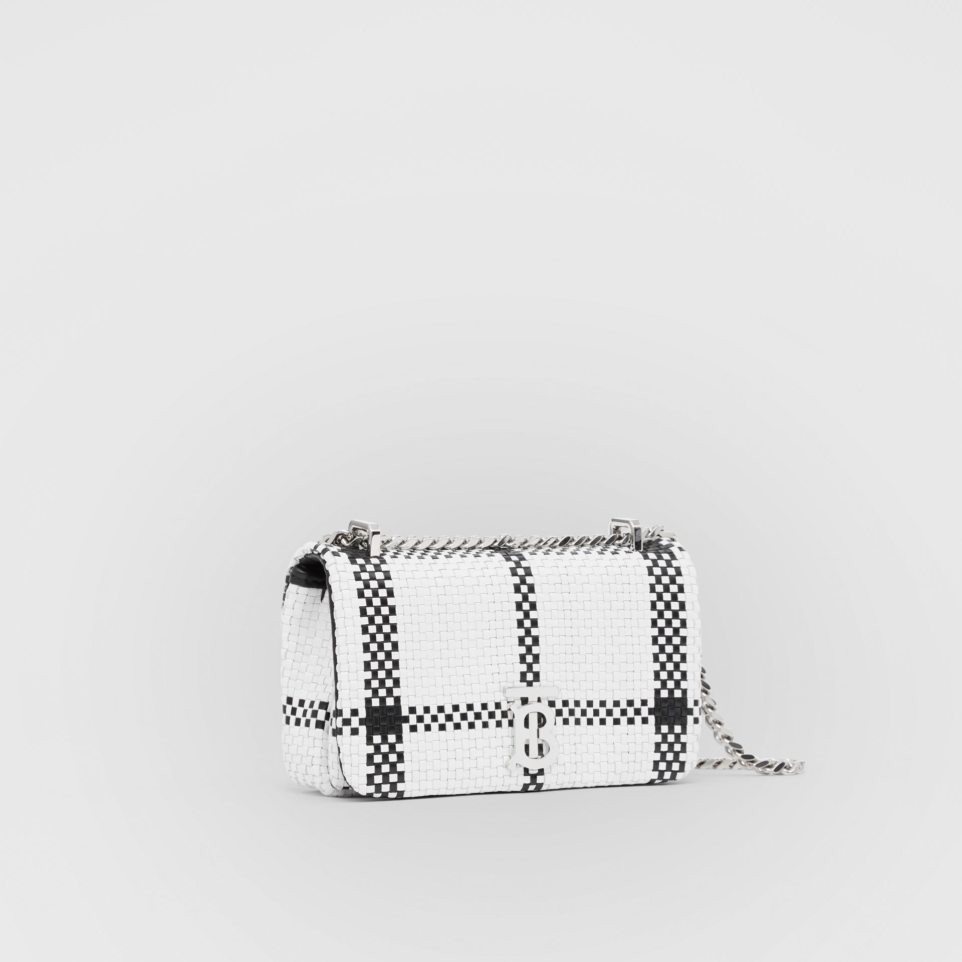 Mini Latticed Leather Lola Bag in Black/white - Women | Burberry - gallery image 6