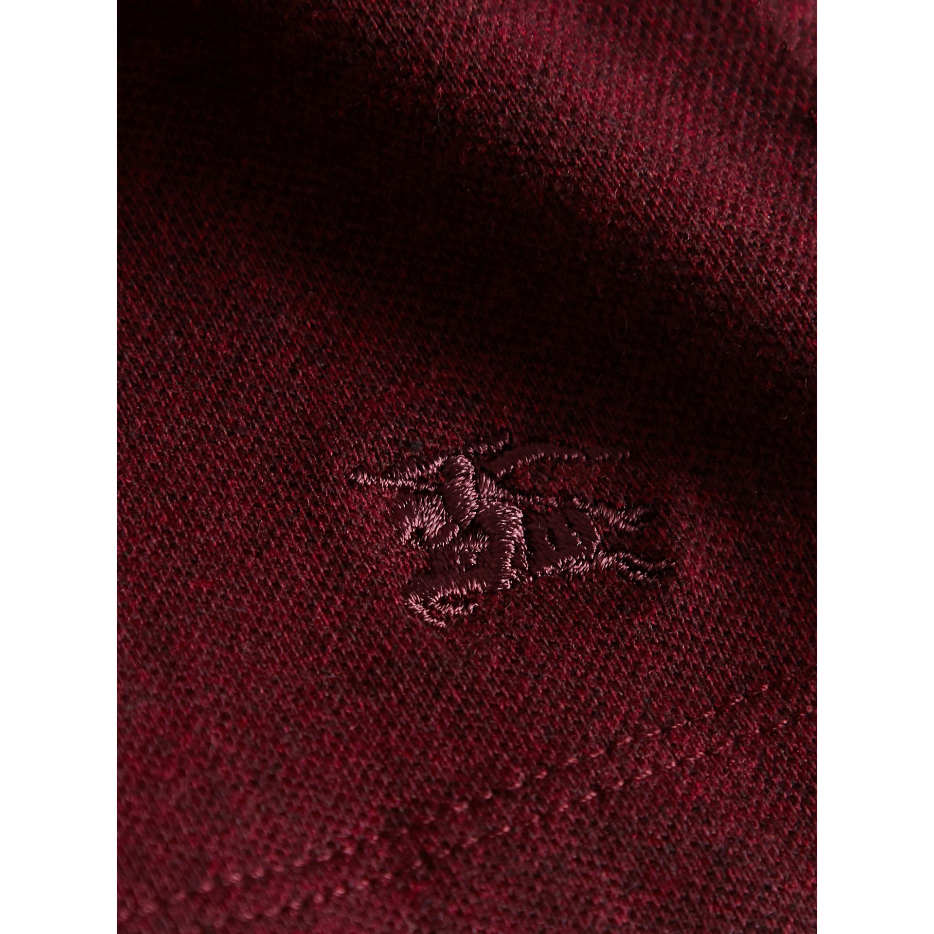 Dropped-waist Stretch Cotton Piqué Dress in Burgundy Melange - Girl | Burberry - gallery image 2