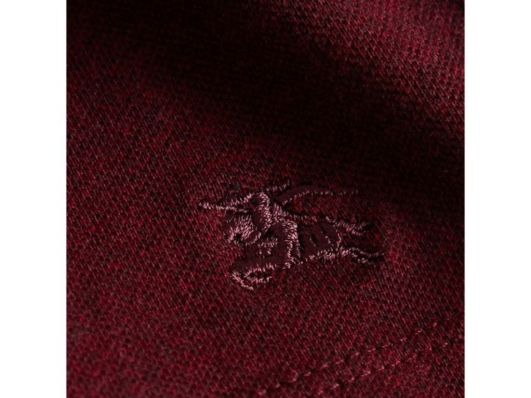 Dropped-waist Stretch Cotton Piqué Dress in Burgundy Melange - Girl | Burberry - cell image 1