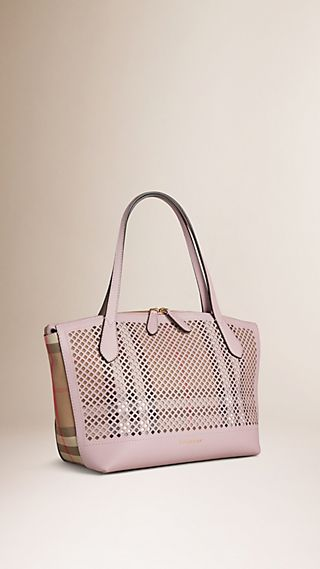 House Check and Perforated Leather Tote