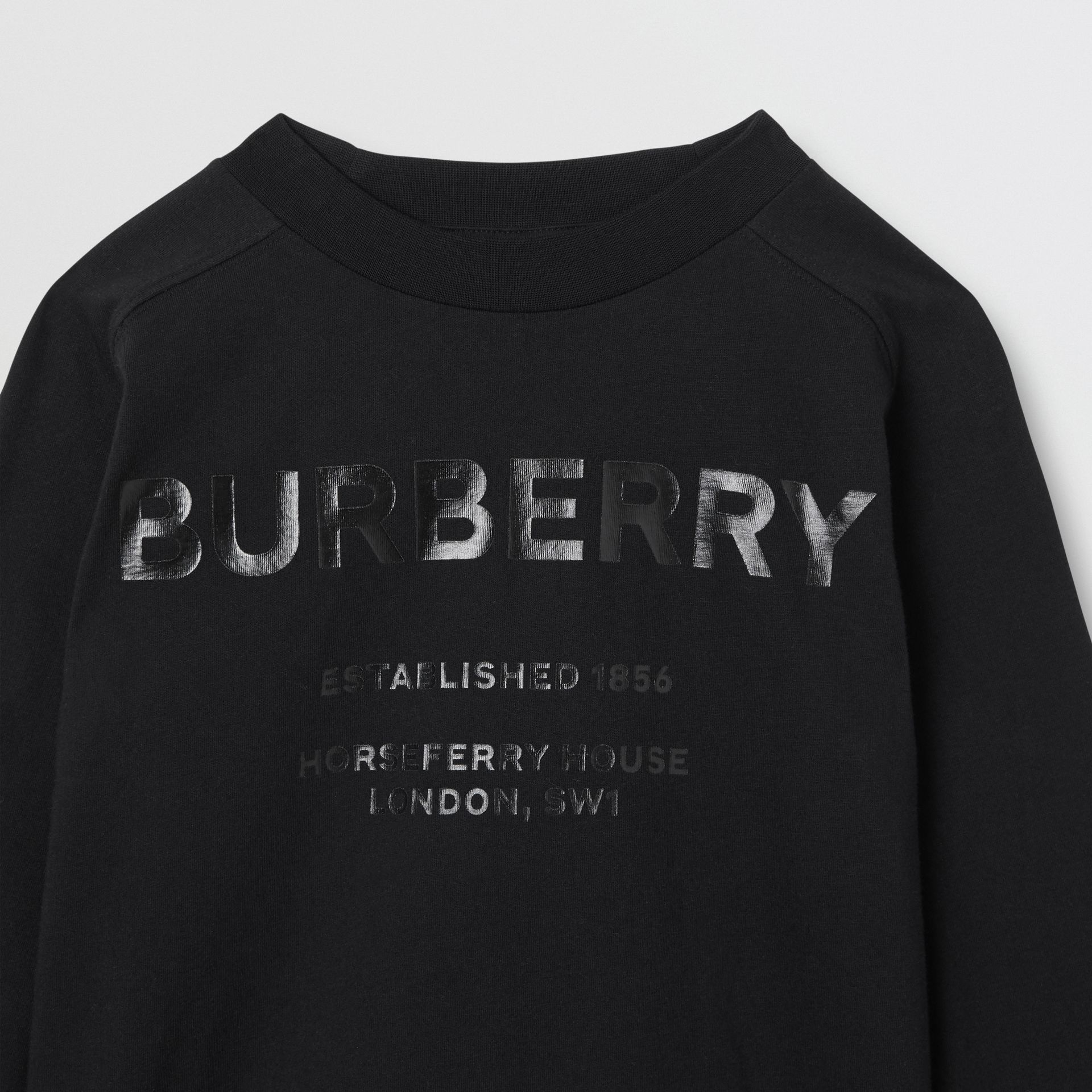 Long-sleeve Horseferry Print Cotton Top in Black | Burberry - gallery image 4