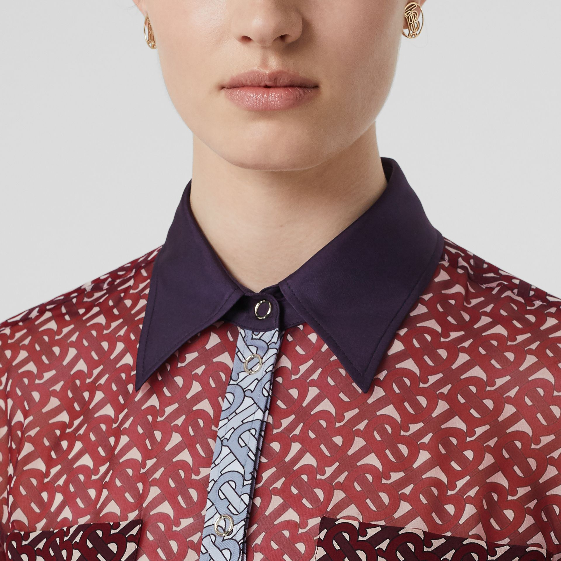 Monogram Print Silk Chiffon Pleated Shirt Dress in Oxblood - Women | Burberry Australia - gallery image 1