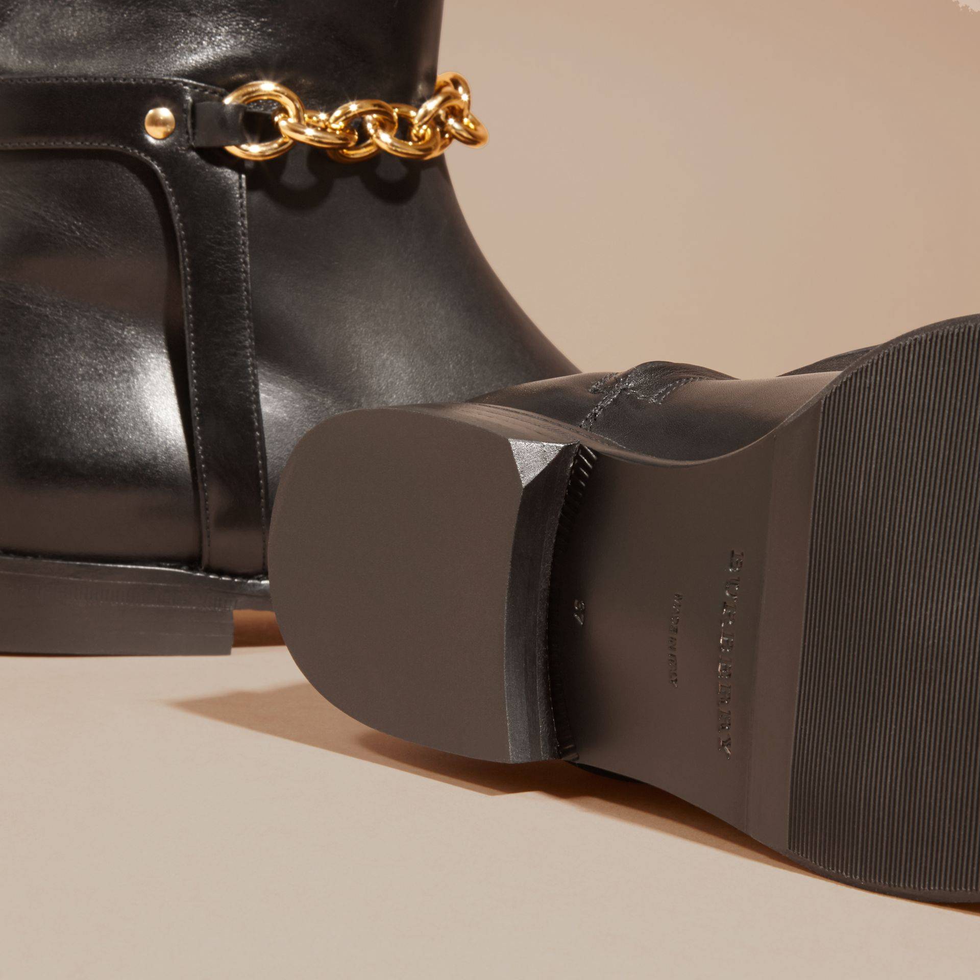 Black Chain Detail Leather Riding Boots - gallery image 5