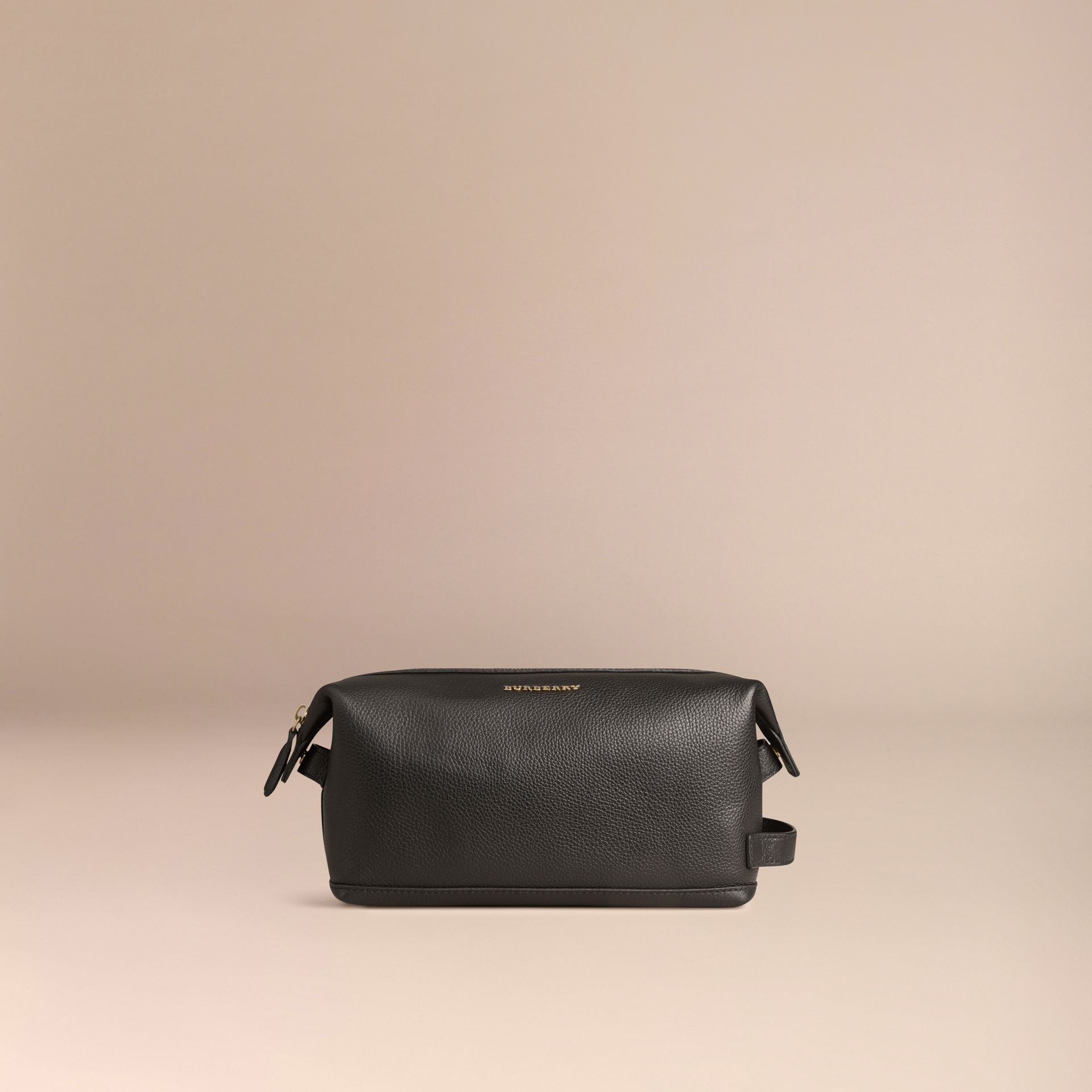 Black Grainy Leather Washbag - gallery image 3