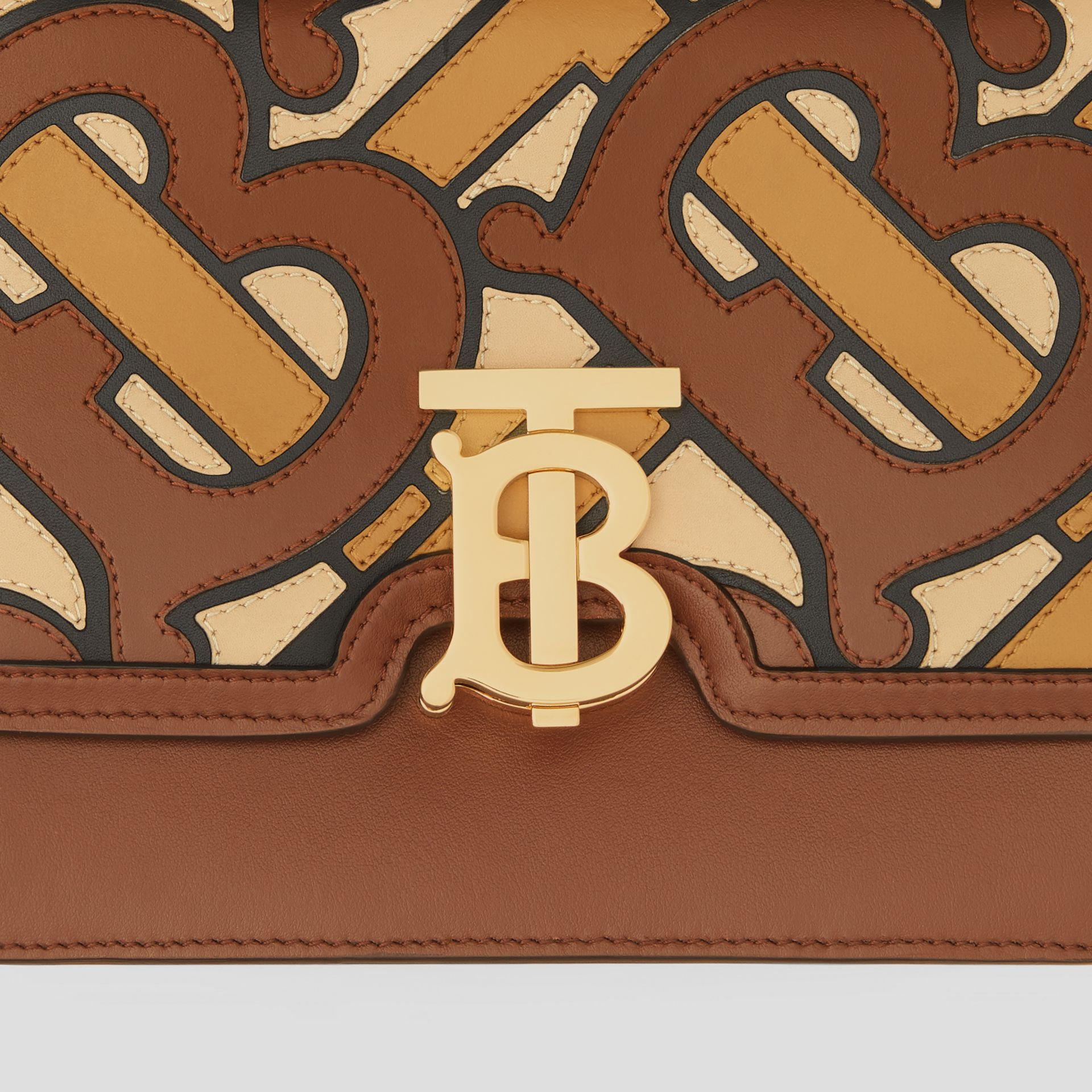 Small Monogram Appliqué Leather TB Bag in Brown - Women | Burberry - gallery image 1