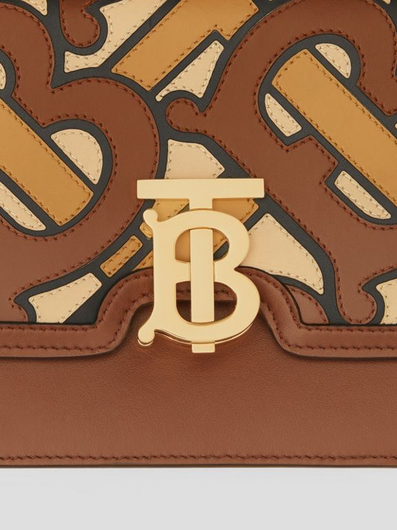 Small Monogram Appliqué Leather TB Bag in Brown - Women | Burberry - cell image 1