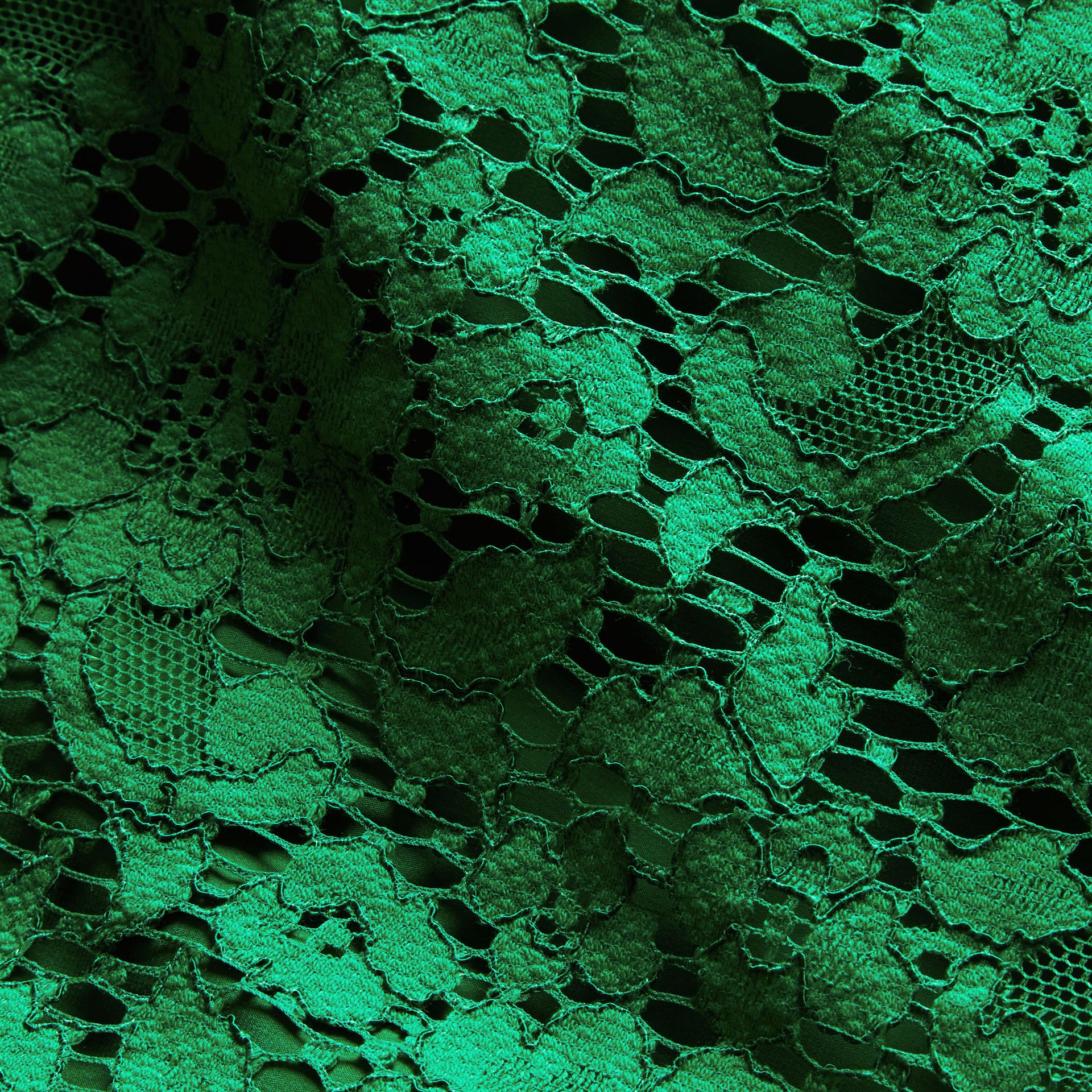 Macramé Lace Shift Dress with Ruffle Sleeves Kelly Green - gallery image 2
