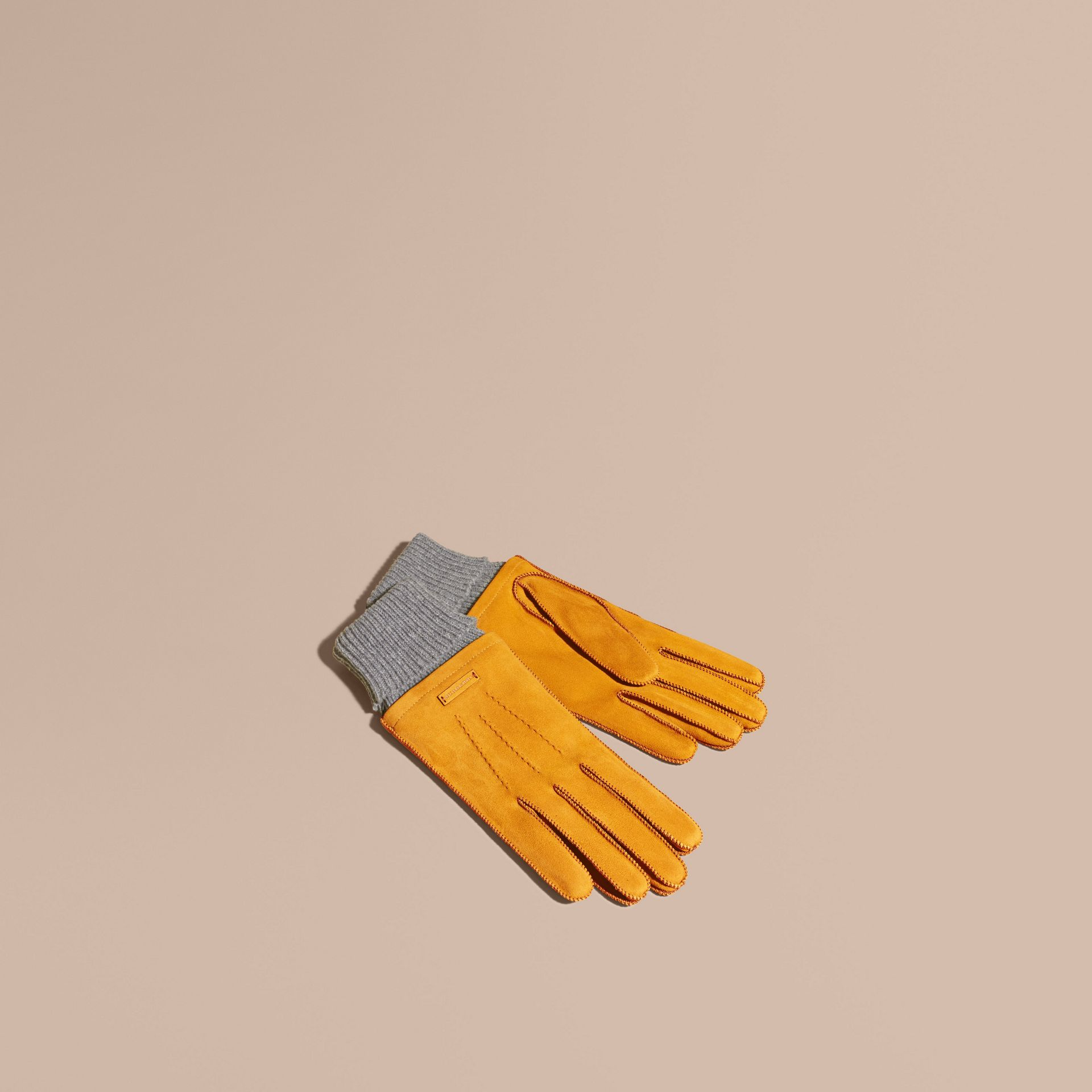 Saffron yellow Wool Cashmere Ribbed Trim Suede Gloves Saffron Yellow - gallery image 1