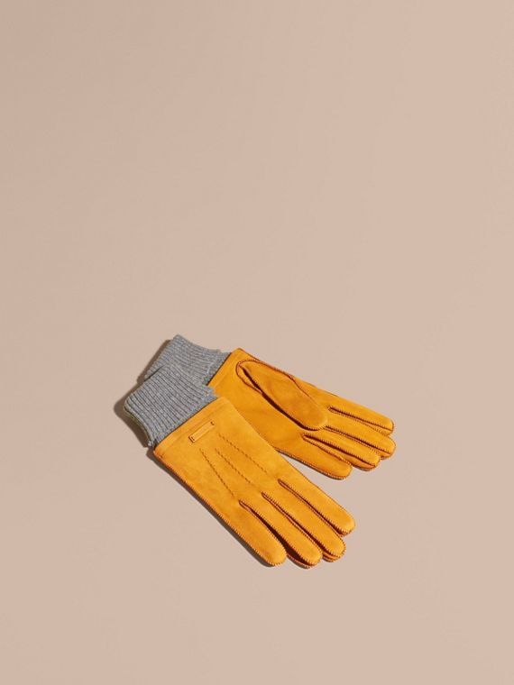 Wool Cashmere Ribbed Trim Suede Gloves Saffron Yellow