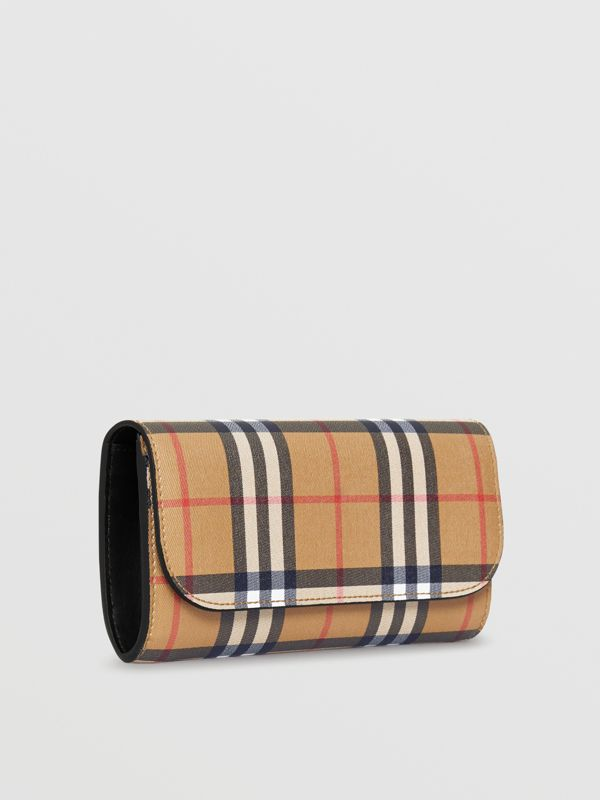 Vintage Check and Leather Continental Wallet in Black - Women | Burberry Canada - cell image 3