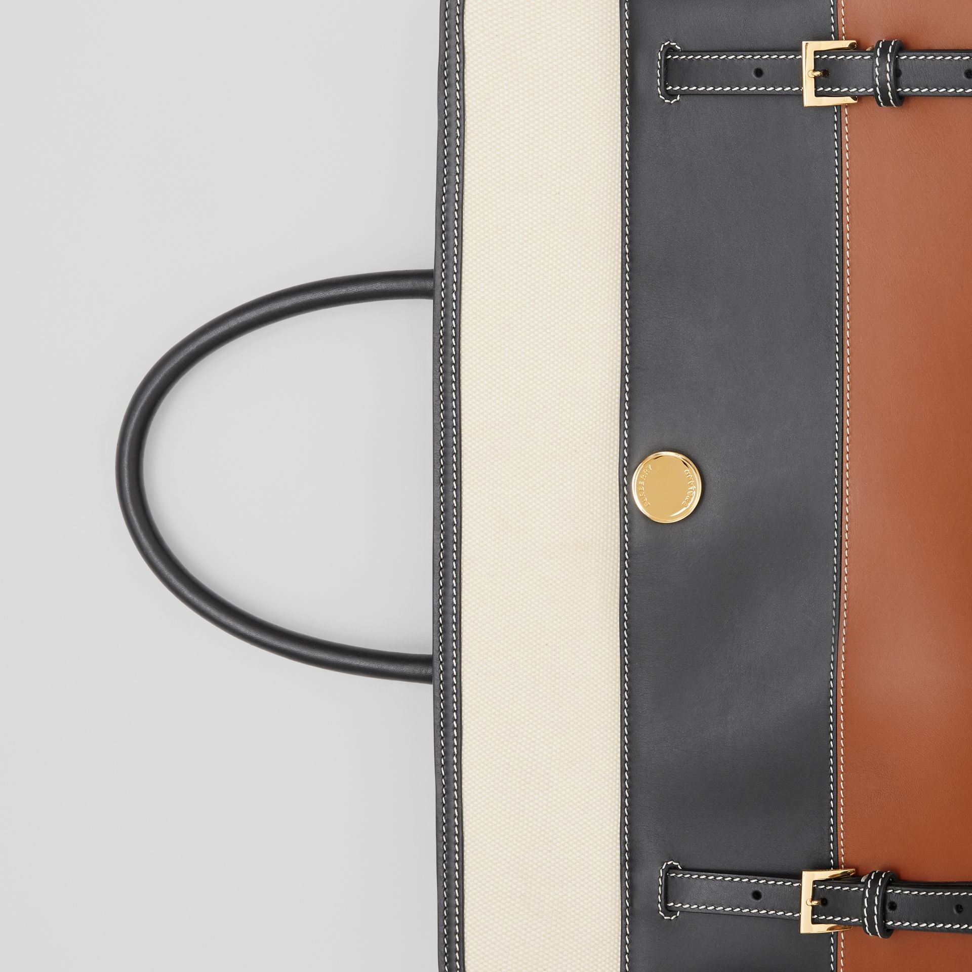 Tri-tone Leather and Canvas Society Top Handle Bag in Tan/black - Women | Burberry United States - gallery image 6