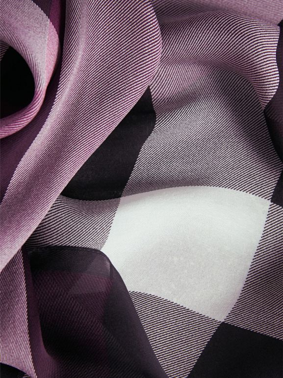 Lightweight Check Silk Scarf in Aubergine - Women | Burberry United Kingdom - cell image 1