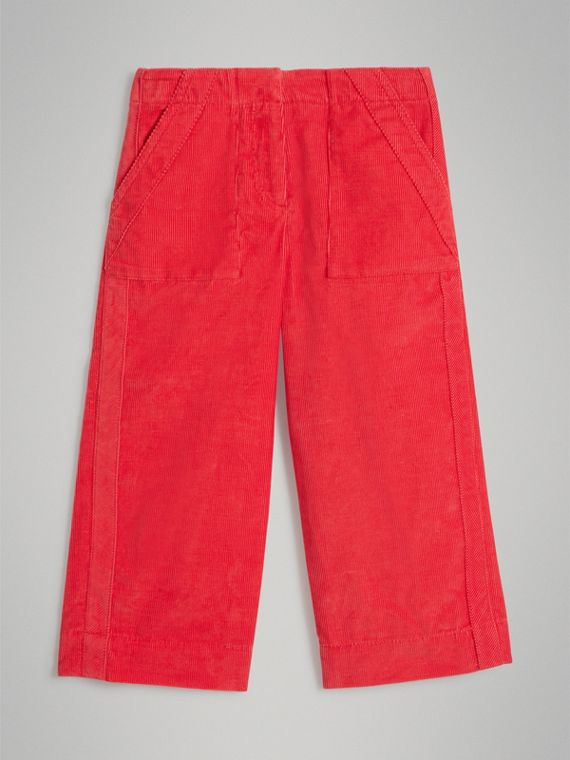 Corduroy Wide-leg Trousers in Bright Orange Red