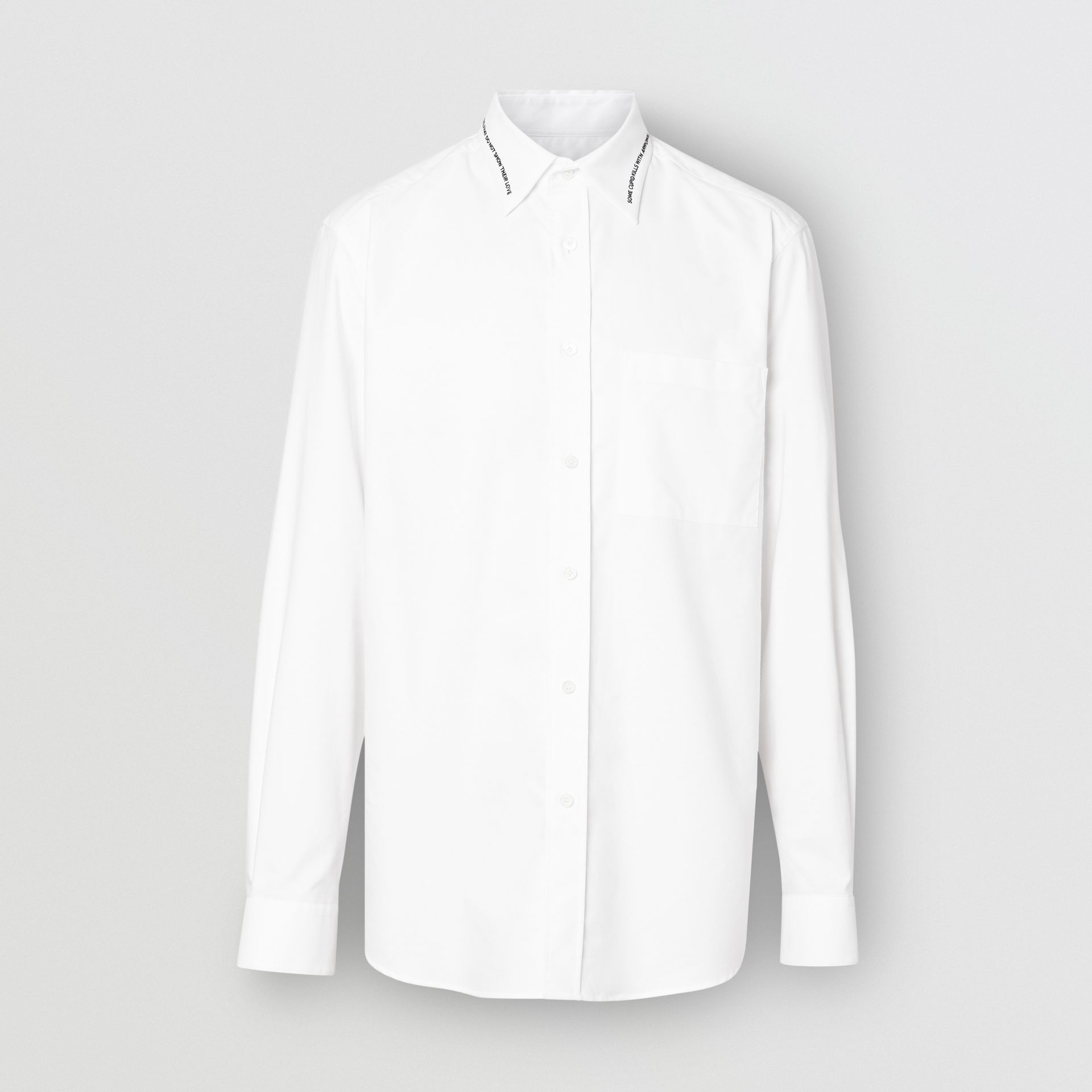 Classic Fit Embroidered Cotton Poplin Dress Shirt in White - Men | Burberry - gallery image 3