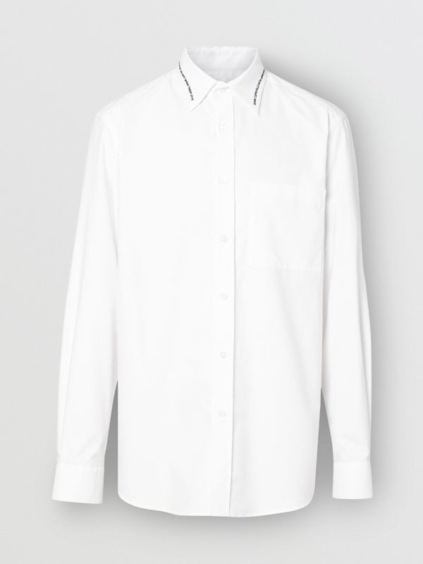 Classic Fit Embroidered Cotton Poplin Dress Shirt in White - Men | Burberry - cell image 3