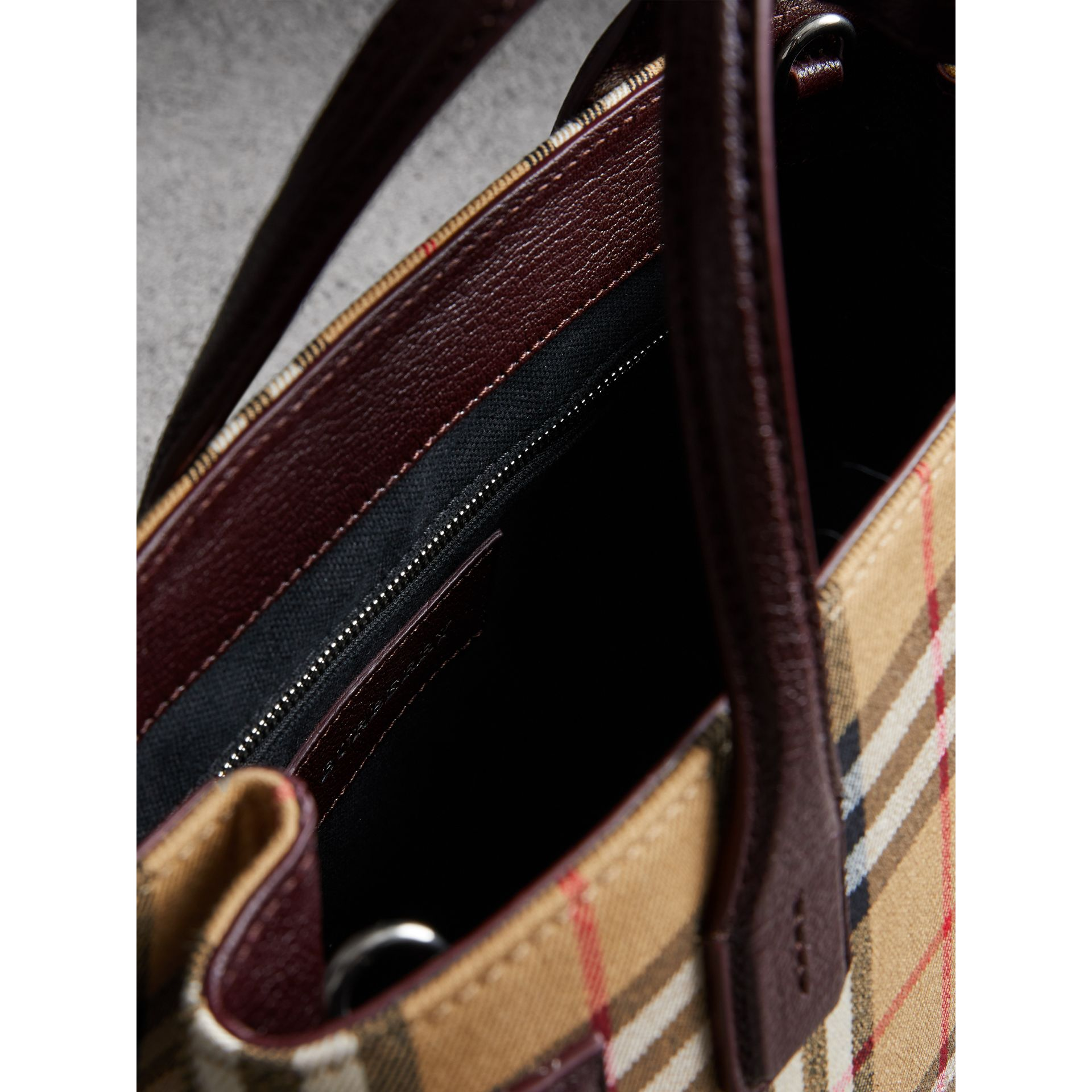 The Small Banner in Vintage Check and Leather in Deep Claret - Women | Burberry - gallery image 5
