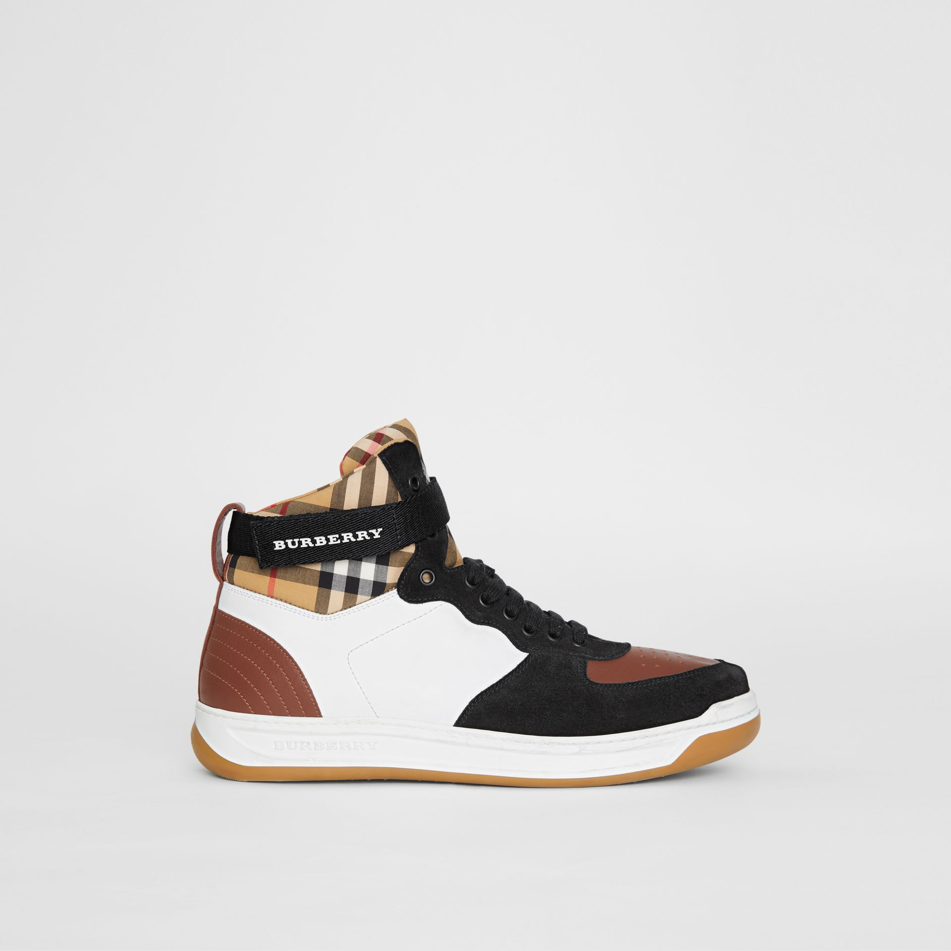 Leather and Suede High-top Sneakers in Optic White/camel - Men | Burberry Singapore - gallery image 4