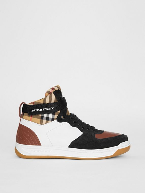 Leather and Suede High-top Sneakers in Optic White/camel