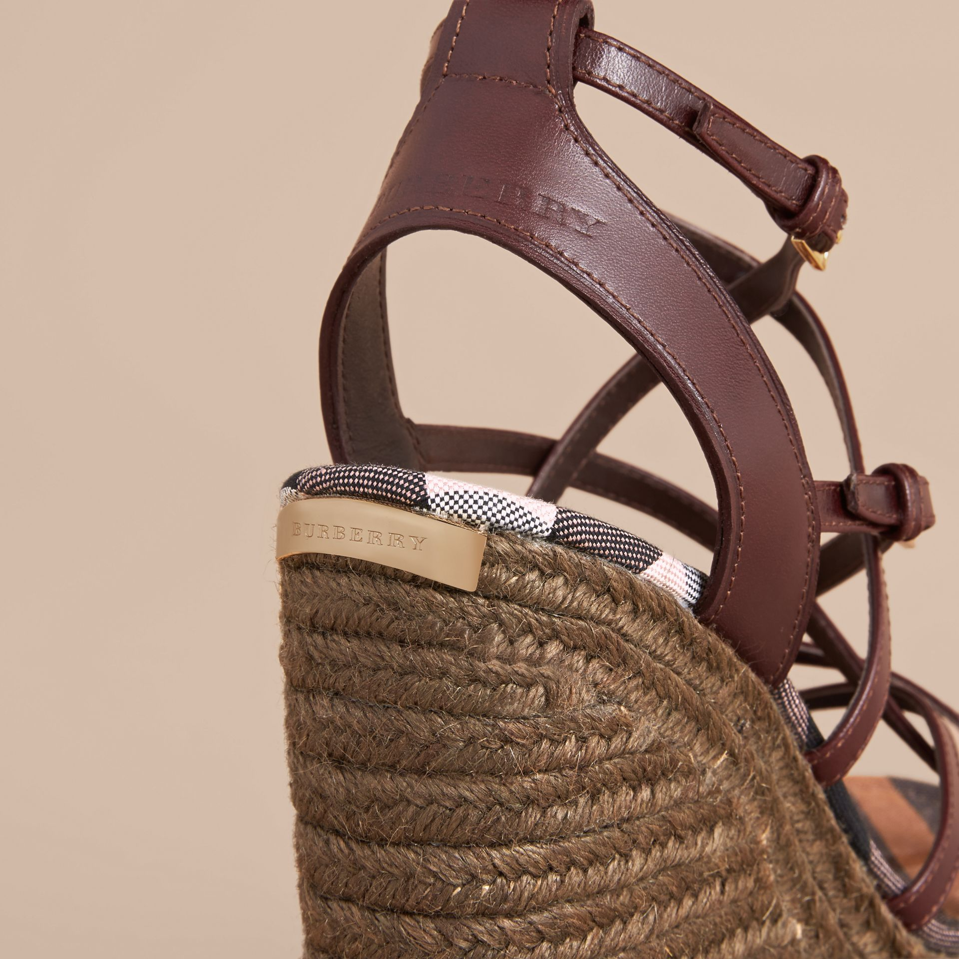 Leather Platform Espadrille Wedge Sandals in Cerise Purple - Women | Burberry - gallery image 2