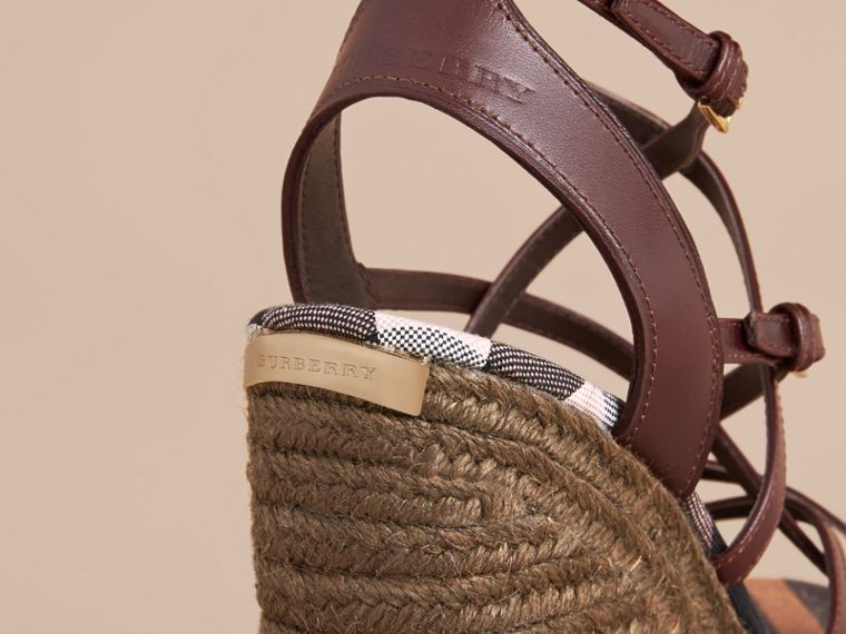 Leather Platform Espadrille Wedge Sandals - Women | Burberry - cell image 1