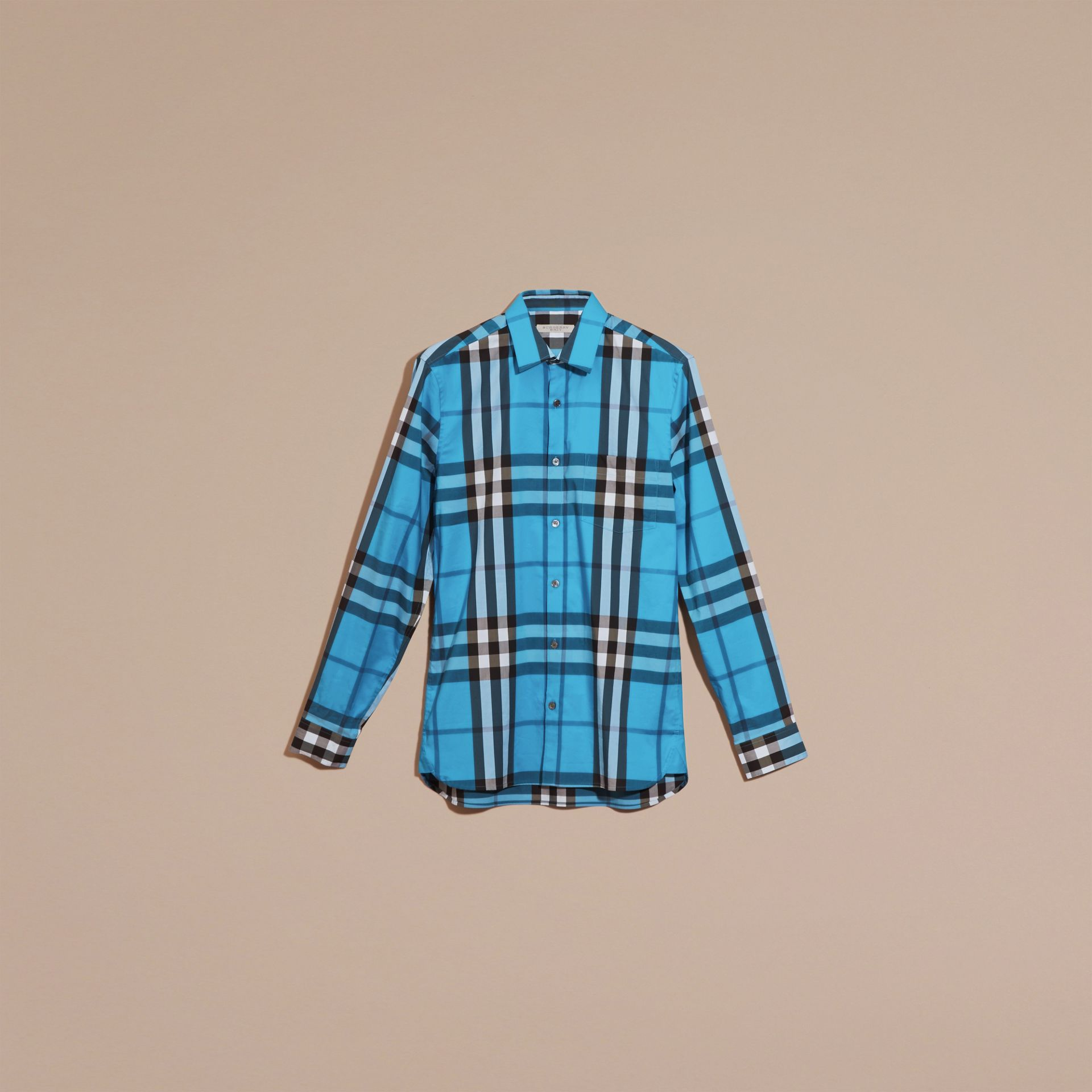 Check Stretch Cotton Shirt in Bright Blue - Men | Burberry - gallery image 4
