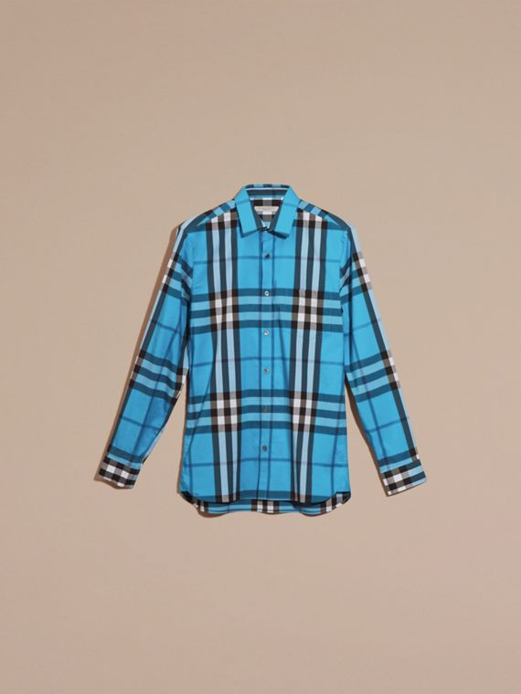 Check Stretch Cotton Shirt Bright Blue - cell image 3