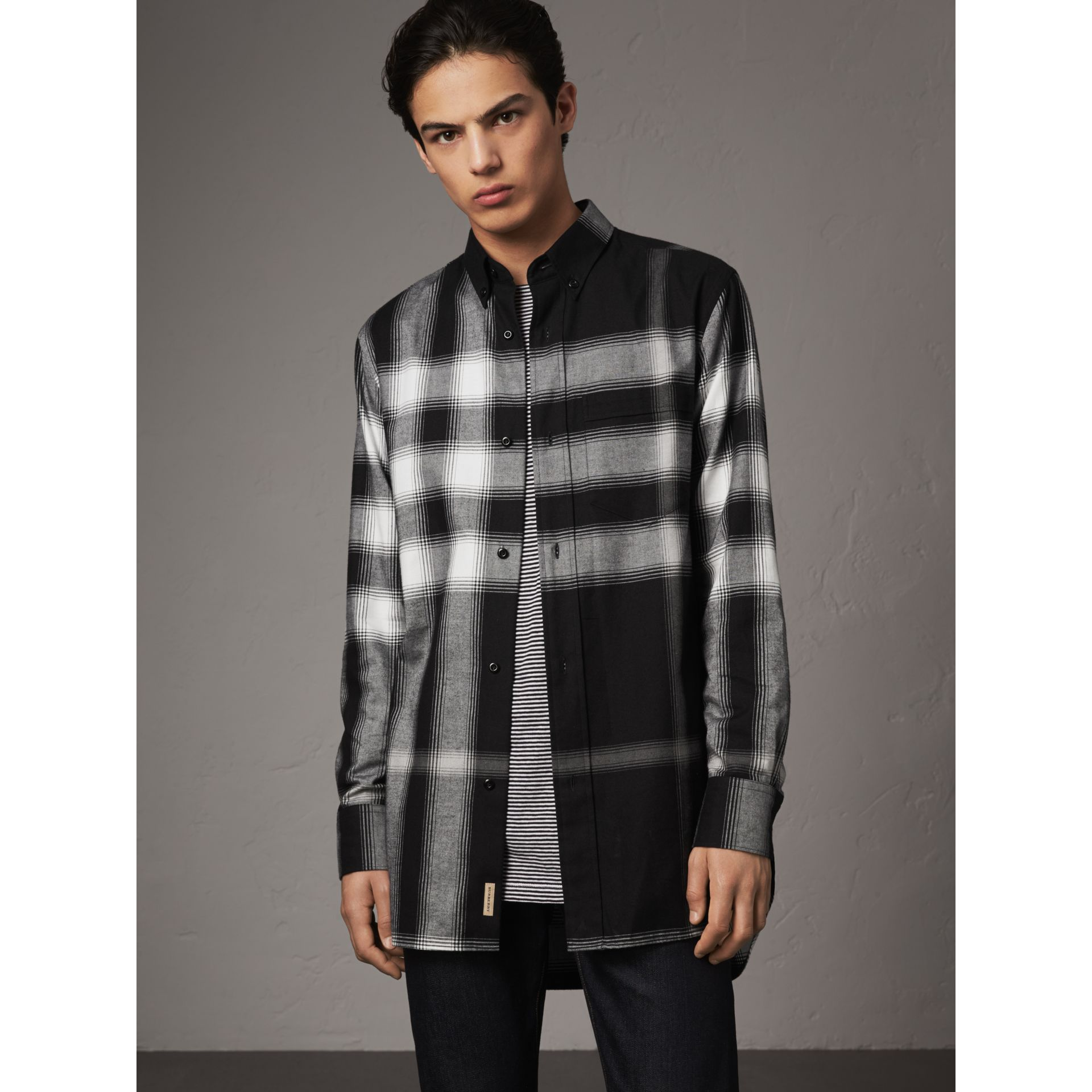 Ombré Check Cotton Flannel Shirt in Black - Men | Burberry - gallery image 1