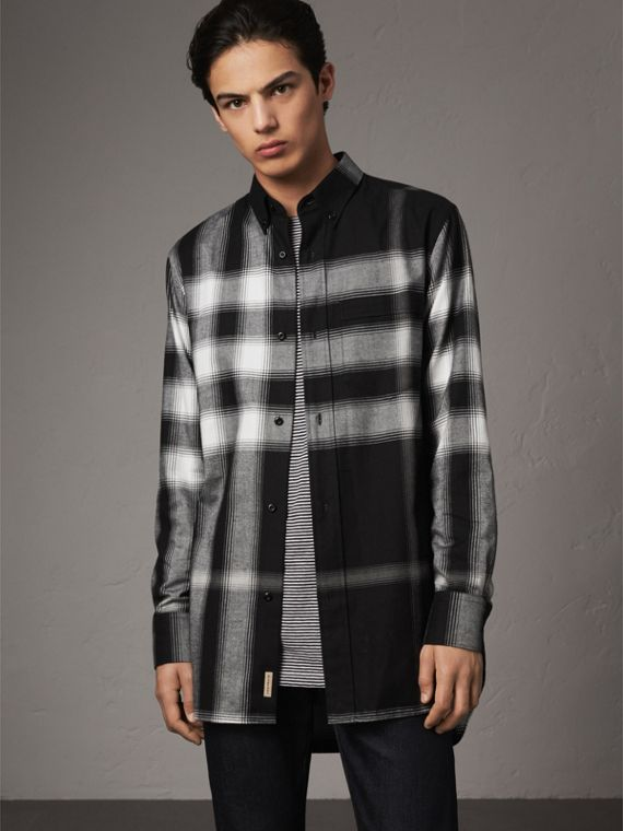 Ombré Check Cotton Flannel Shirt in Black