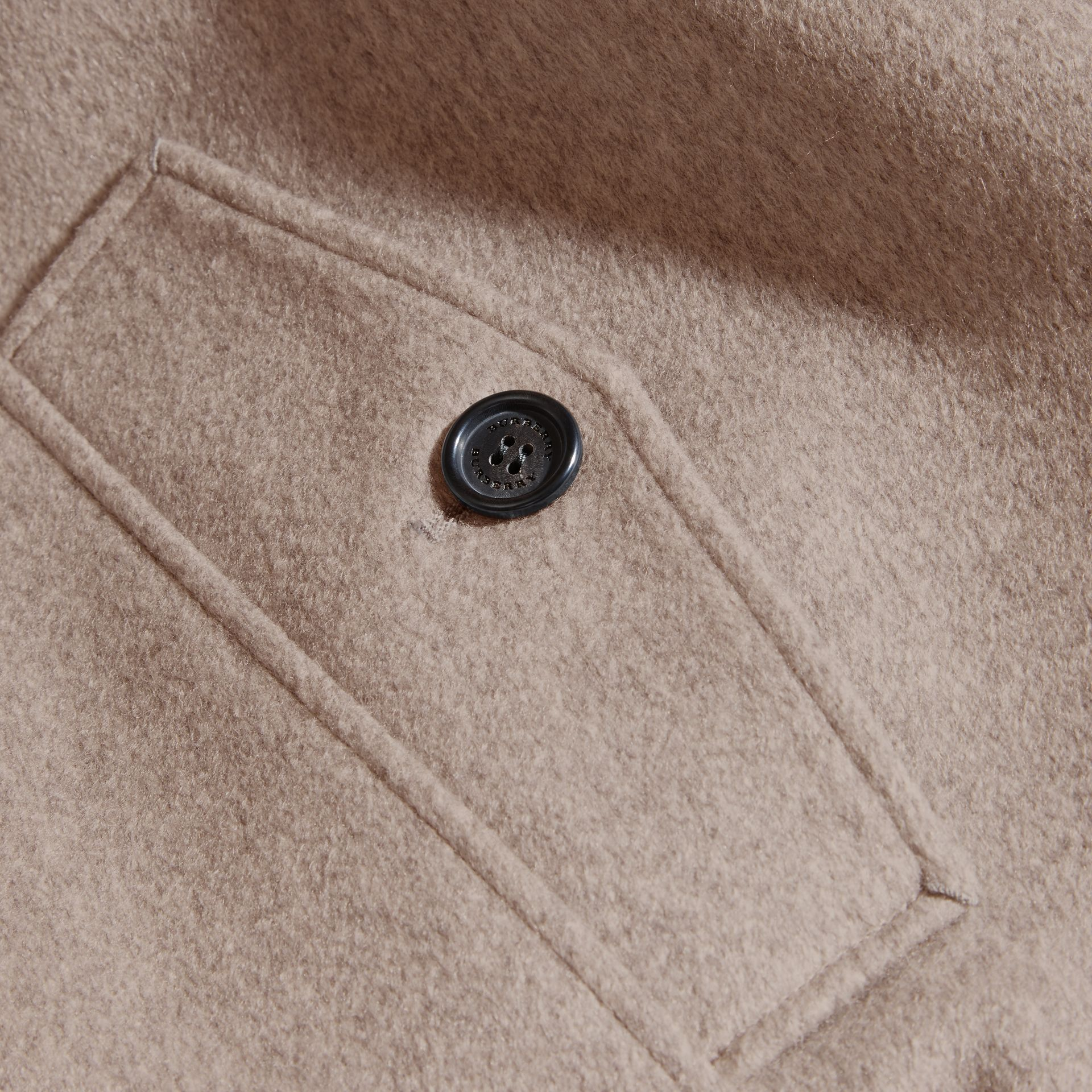 Pale grey melange Cashmere Jacket with Detachable Shearling Collar - gallery image 2