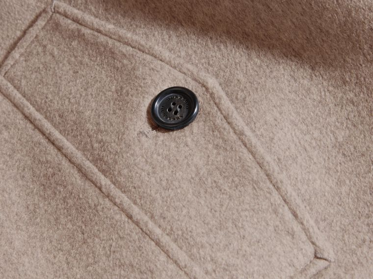 Pale grey melange Cashmere Jacket with Detachable Shearling Collar - cell image 1