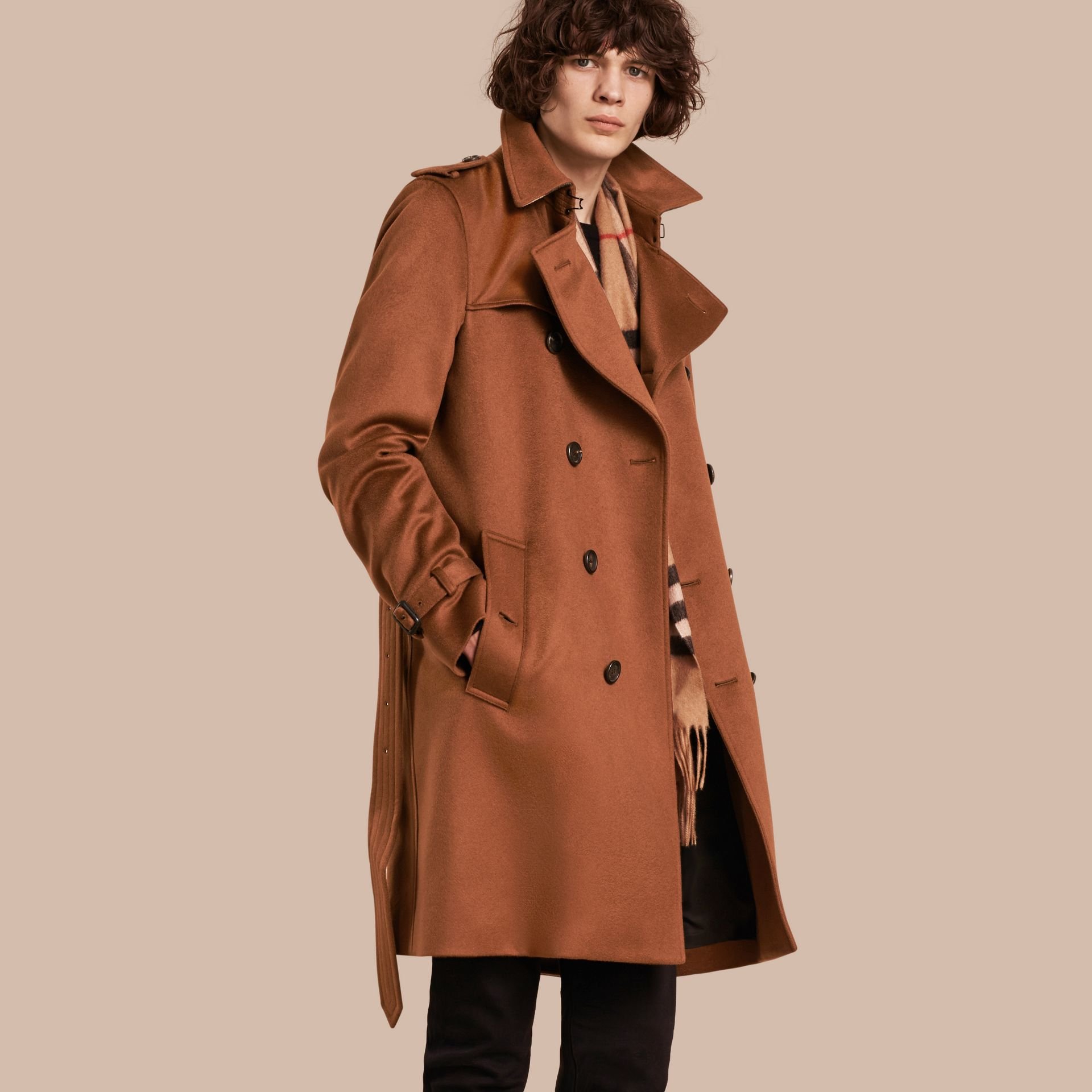 Umber brown Cashmere Trench Coat Umber Brown - gallery image 1