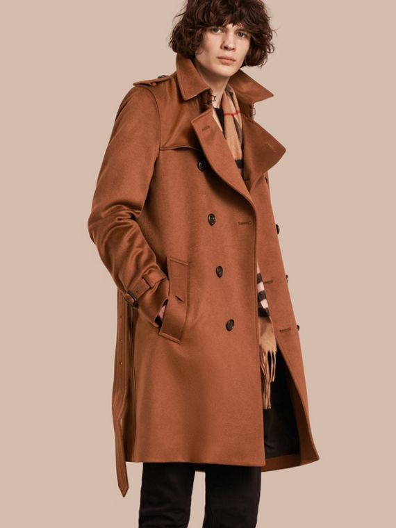 Trench coat en cachemir Marrón Ocre Oscuro