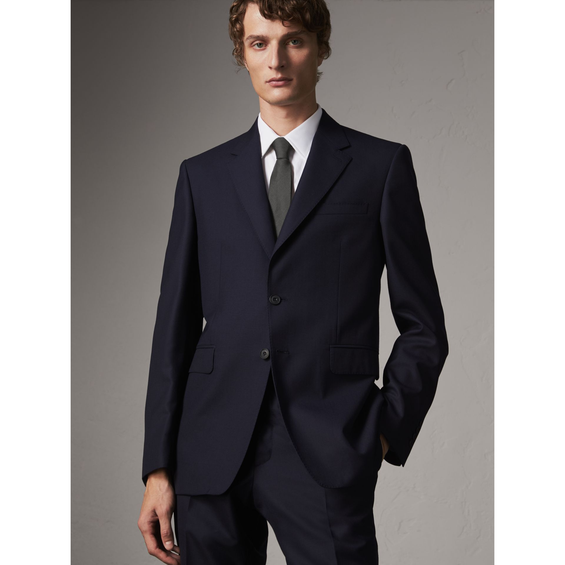 Classic Fit Wool Part-canvas Suit in Navy - Men | Burberry - gallery image 7