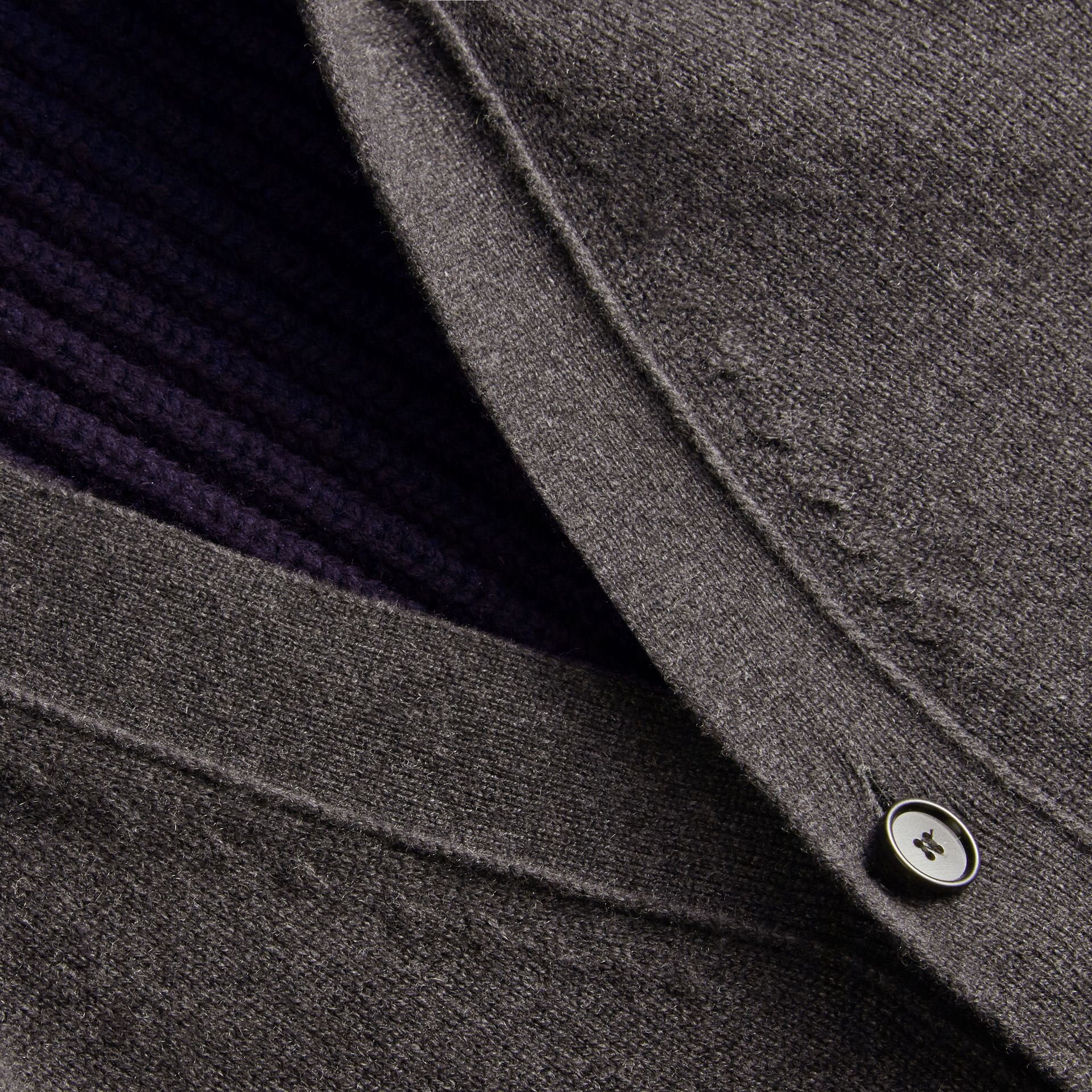 Two-tone Cashmere Cardigan with Ribbed Detail - gallery image 2