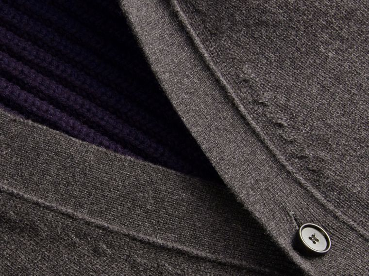 Two-tone Cashmere Cardigan with Ribbed Detail - cell image 1