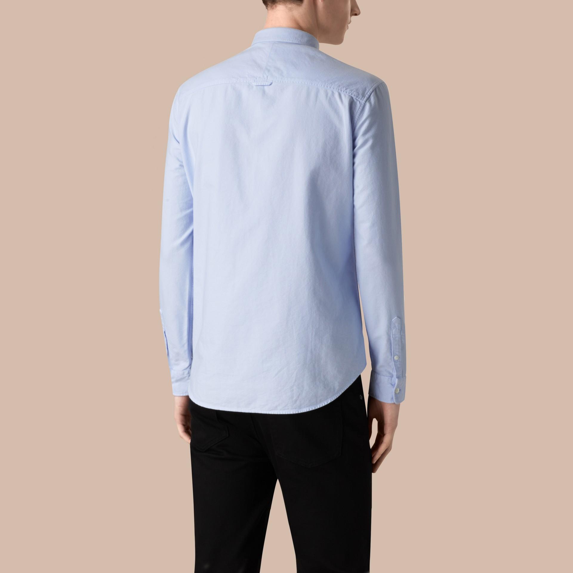 페일 블루 코튼 옥스퍼드 셔츠 페일 블루 - 갤러리 이미지 3