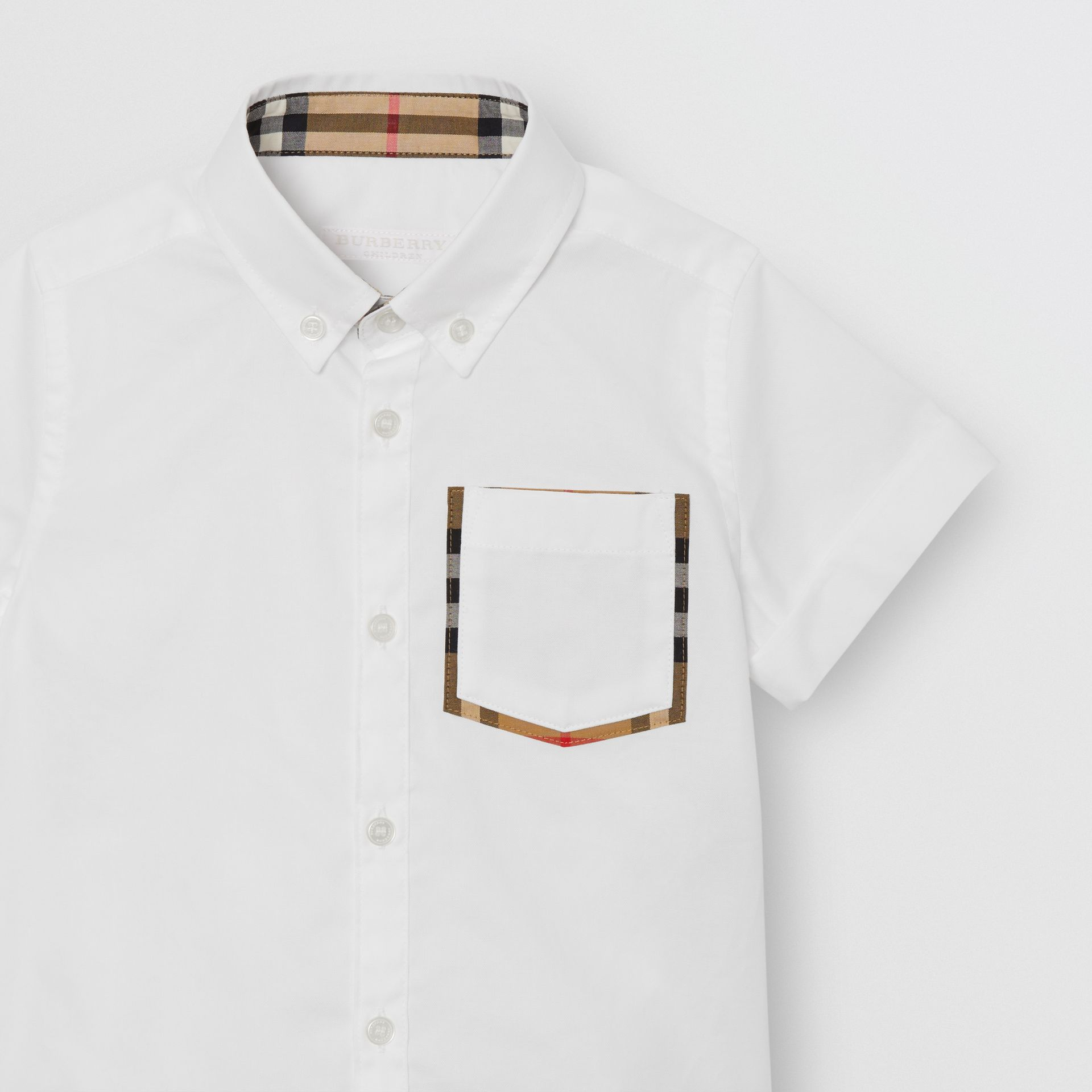 Short-sleeve Check Detail Cotton Oxford Shirt in White | Burberry Canada - gallery image 4