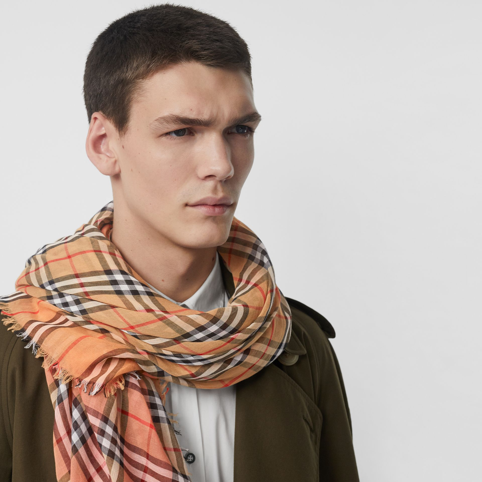 Two-tone Vintage Check Cotton Square Scarf in Coral Rose | Burberry - gallery image 6