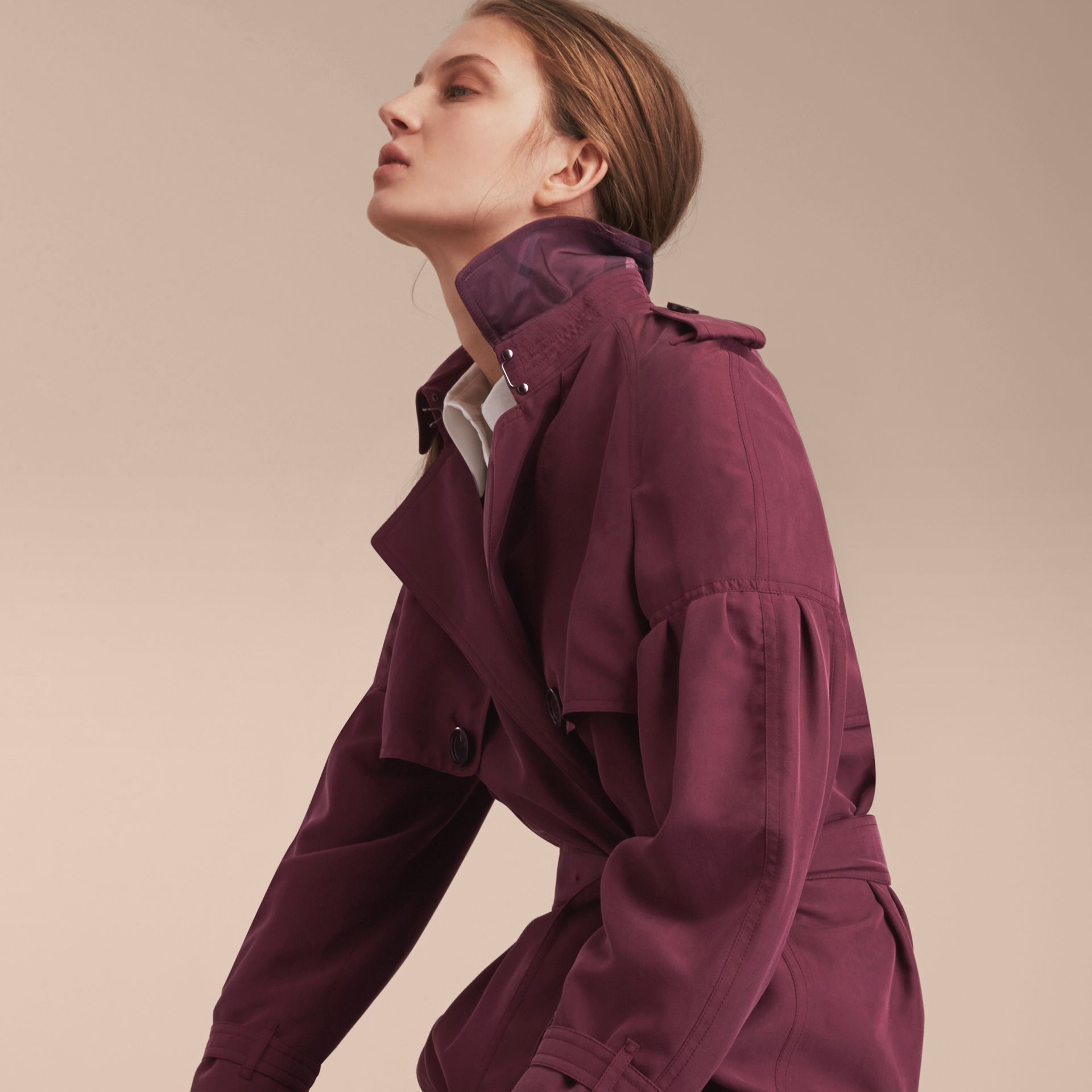 Oversize Silk Trench Coat with Puff Sleeves in Burgundy - Women | Burberry - gallery image 4