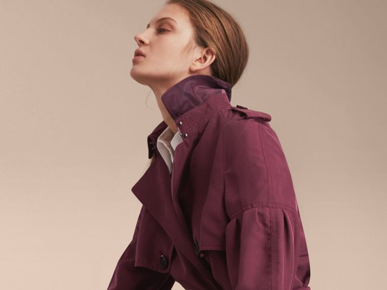 Oversize Silk Trench Coat with Puff Sleeves in Burgundy - Women | Burberry - cell image 4