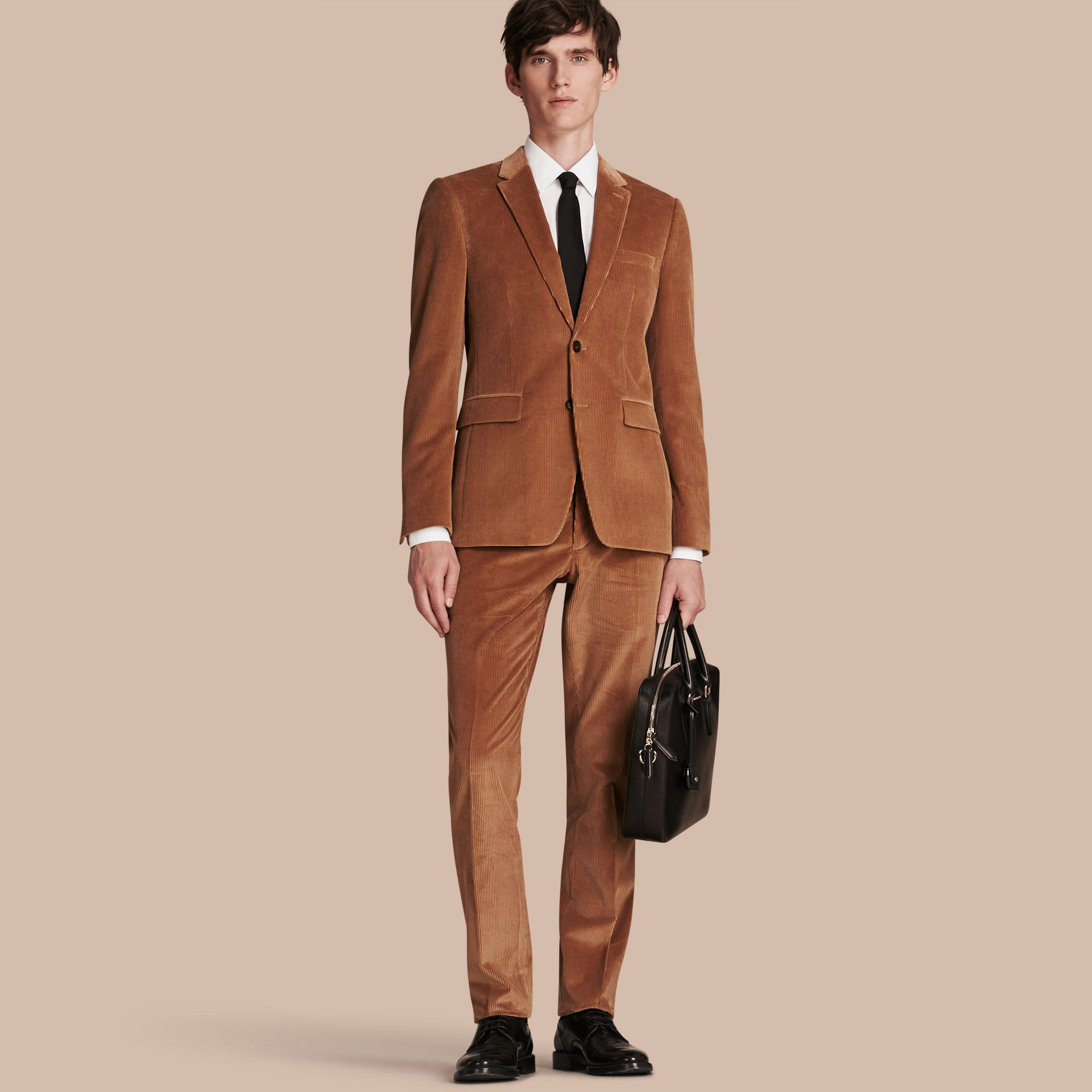 Camel Slim Fit Cotton Corduroy Jacket Camel - gallery image 1