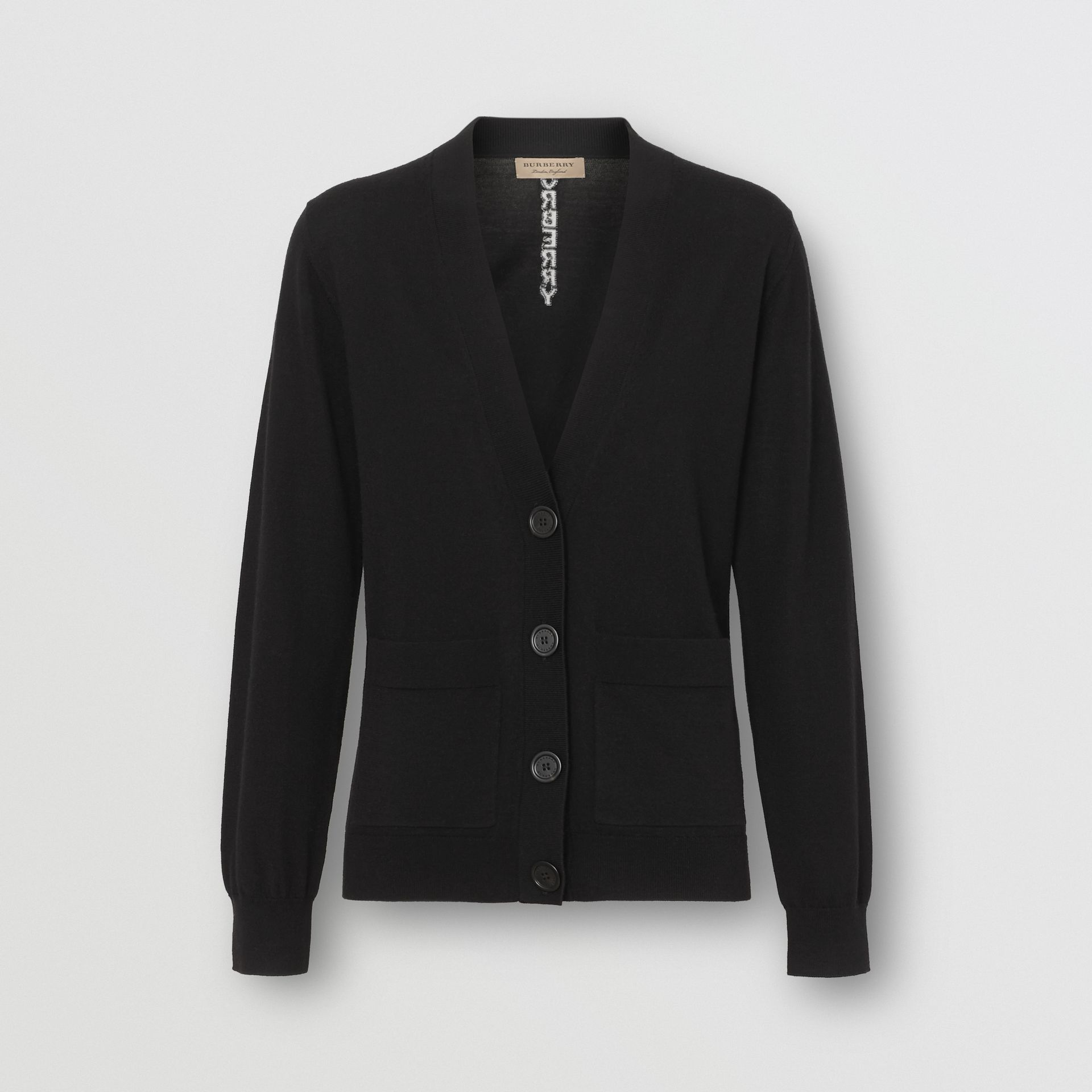 Logo Intarsia Merino Wool Cardigan in Black - Women | Burberry - gallery image 3
