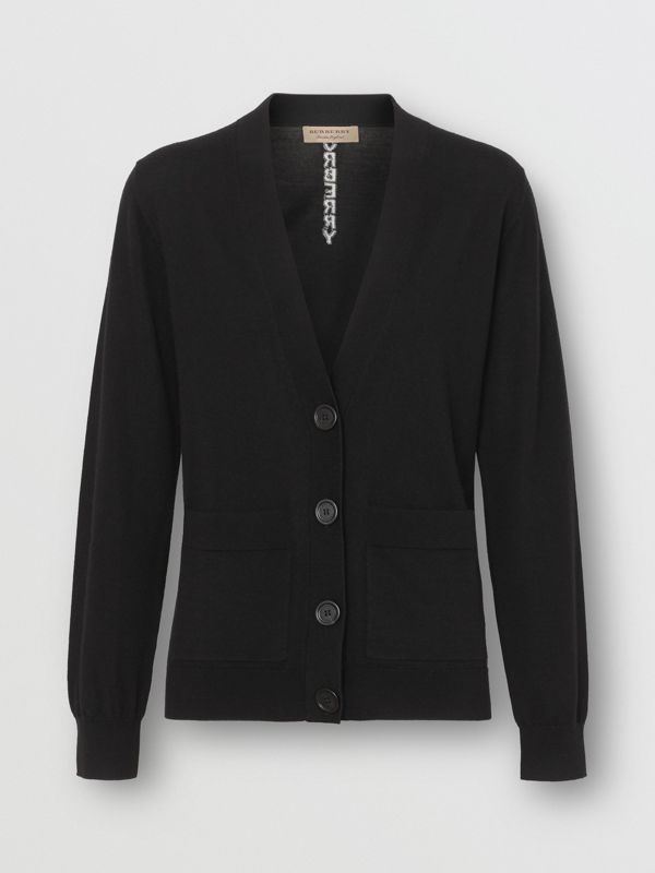 Logo Intarsia Merino Wool Cardigan in Black - Women | Burberry United Kingdom - cell image 3