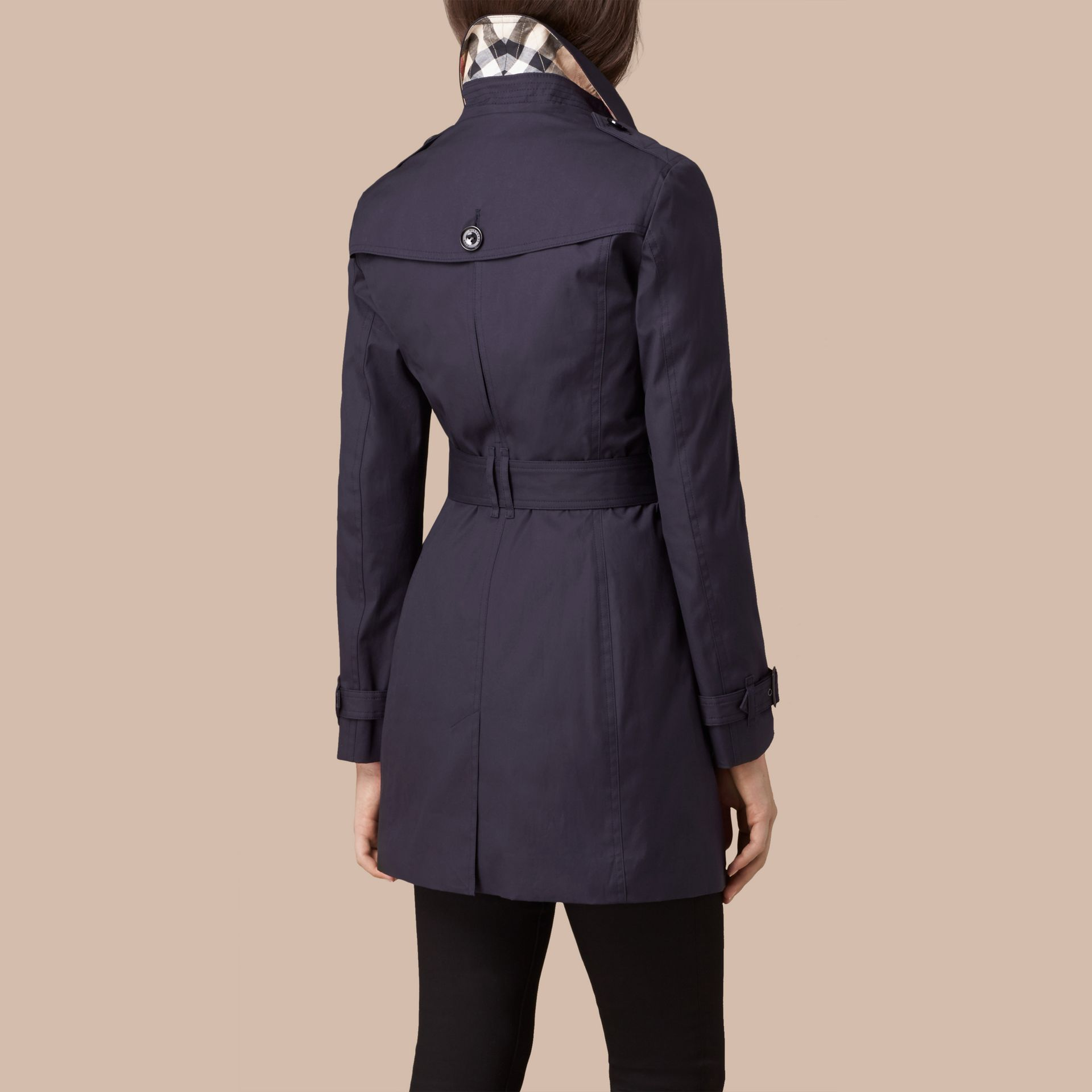 Navy Hooded Cotton Trench Coat with Warmer Navy - gallery image 3