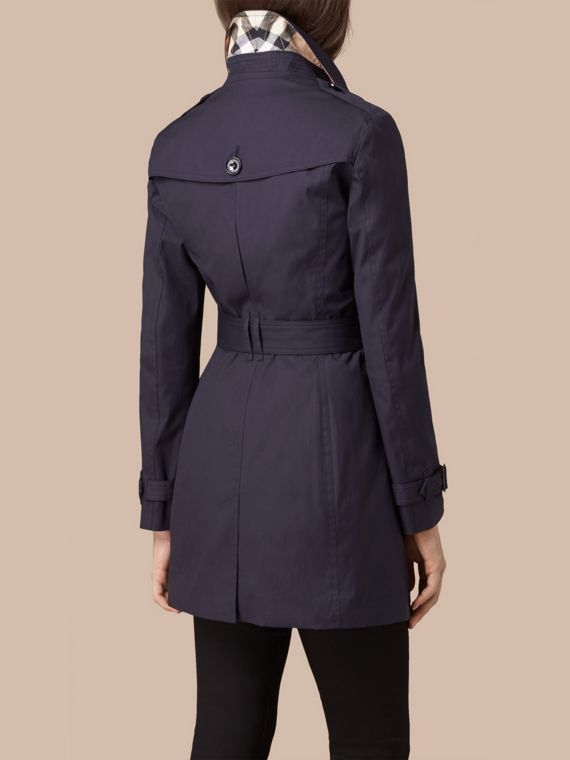 Navy Hooded Cotton Trench Coat with Warmer Navy - cell image 2