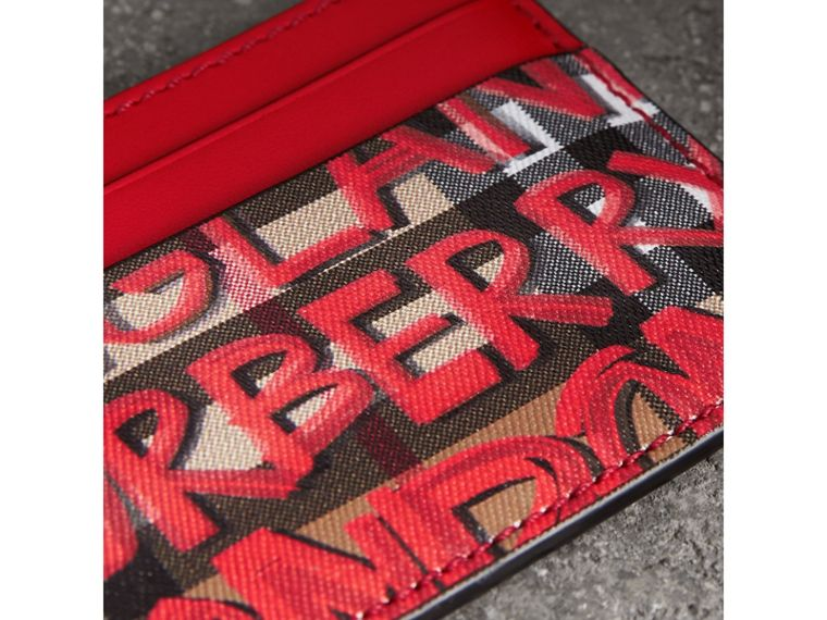 Graffiti Print Vintage Check Leather Card Case in Red | Burberry - cell image 1