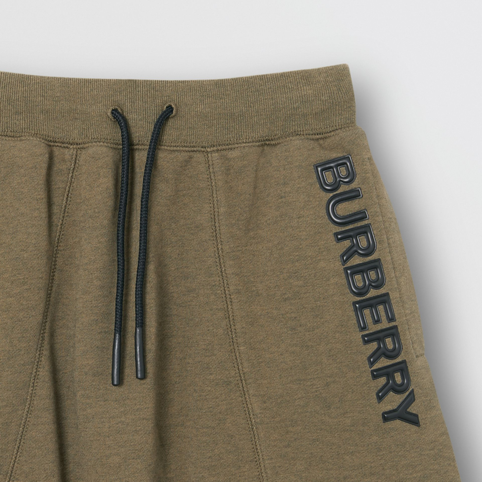Logo Detail Cotton Drawcord Shorts in Military Olive | Burberry - gallery image 4